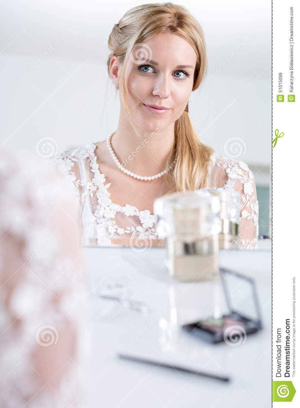 Bride With Ready Makeup Stock Photo - Image: 51015099