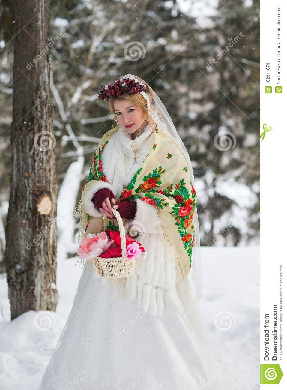 Bride In Red Scarf Russian Style Stock Image - Image of model, green ...
