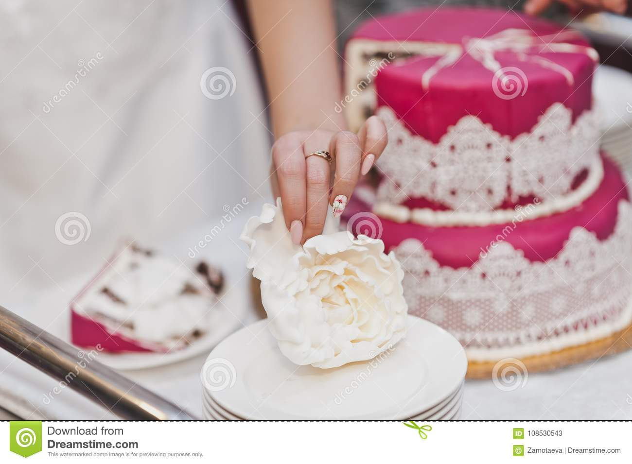 Parts Of A Wedding.The Division Into Parts Of The Wedding Cake 7999 Stock