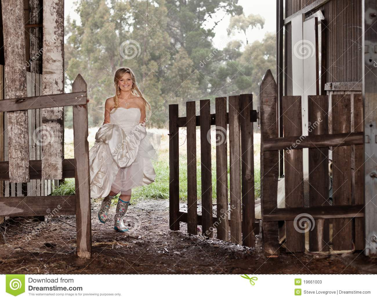 Bride In Rubber Boots Stock Image Image Of Fence Fashion