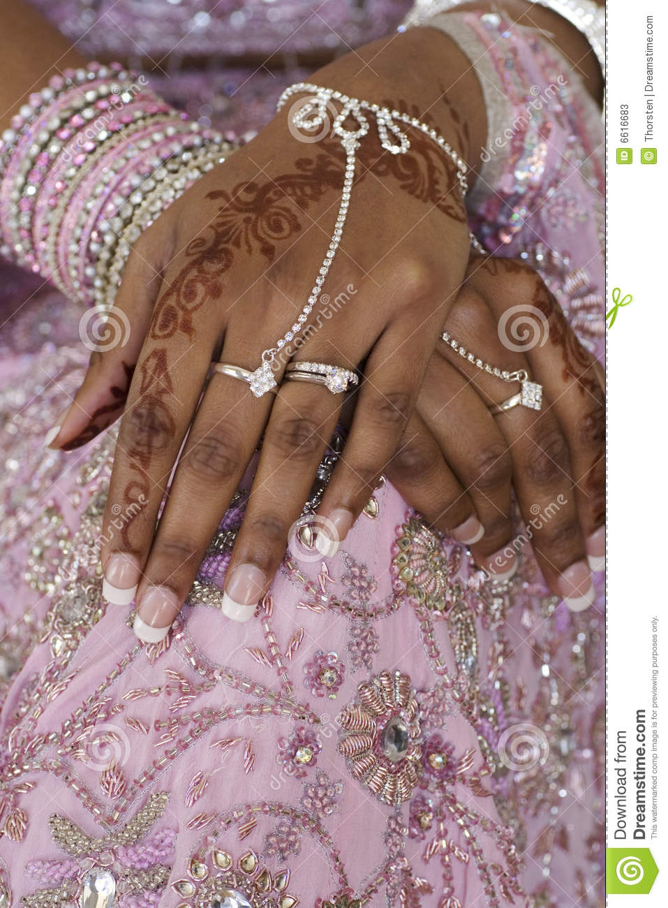 Henna Tattoo For Indian Wedding: Bride's Hand With Henna Tattoo, Indian Wedding Stock