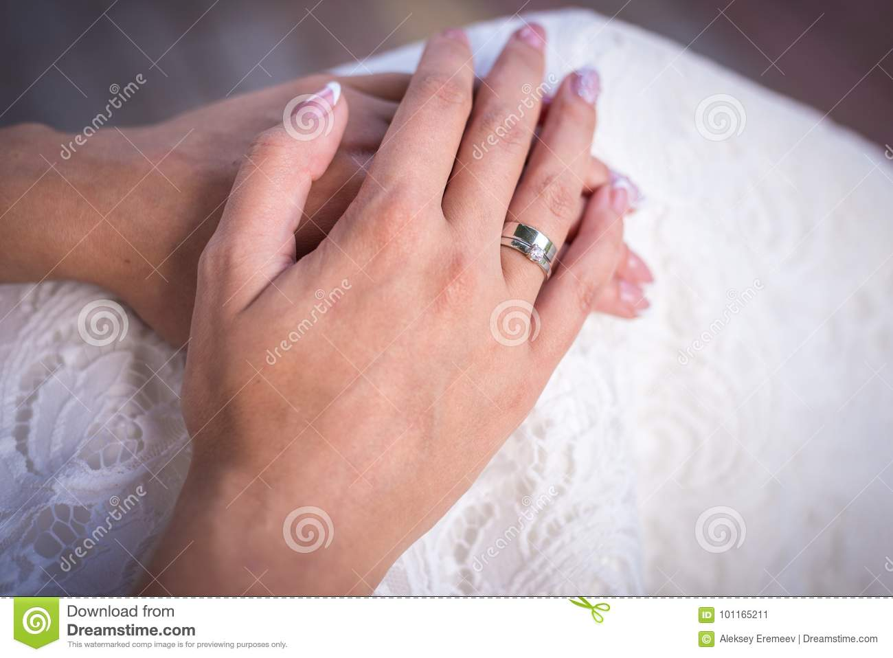 The Bride`s Hand With The Ring Stock Image - Image of bridal ...