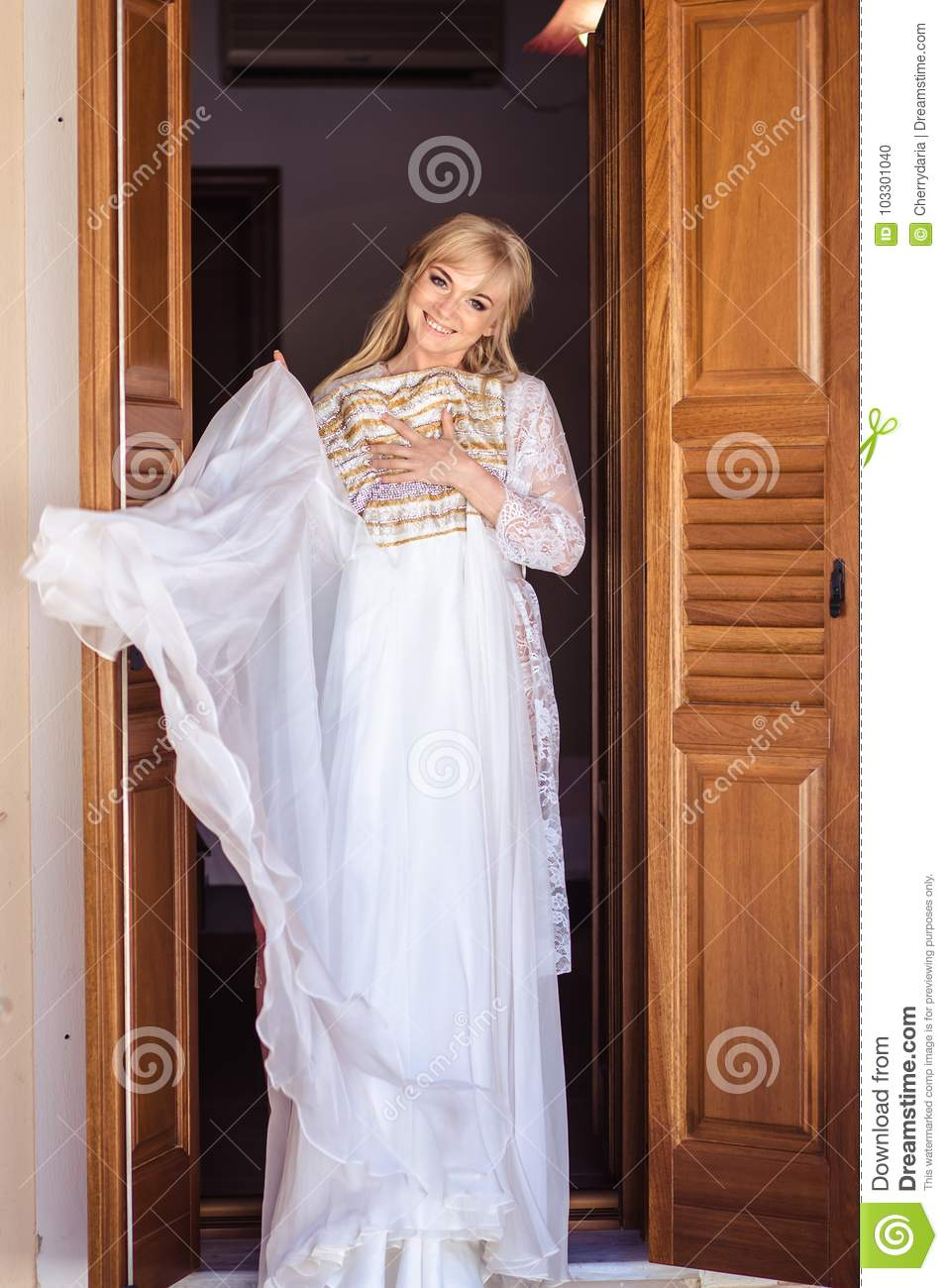 Bride`s Morning - Portrait Of Blonde Young Woman In White Lingerie ...