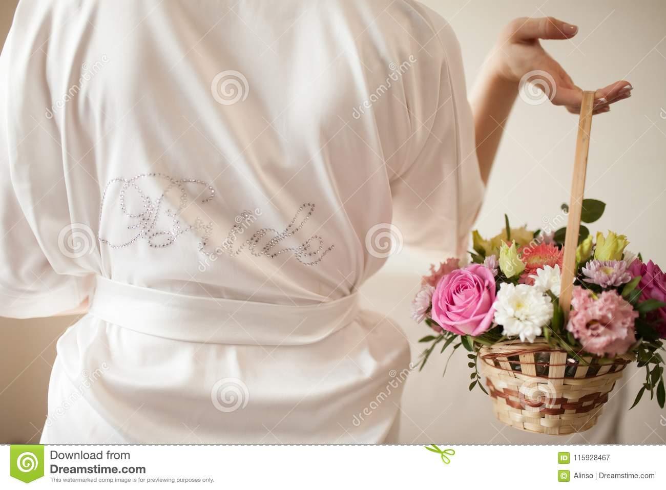Brides Morning Woman Wearing Silk Dressing Gown Stock Image
