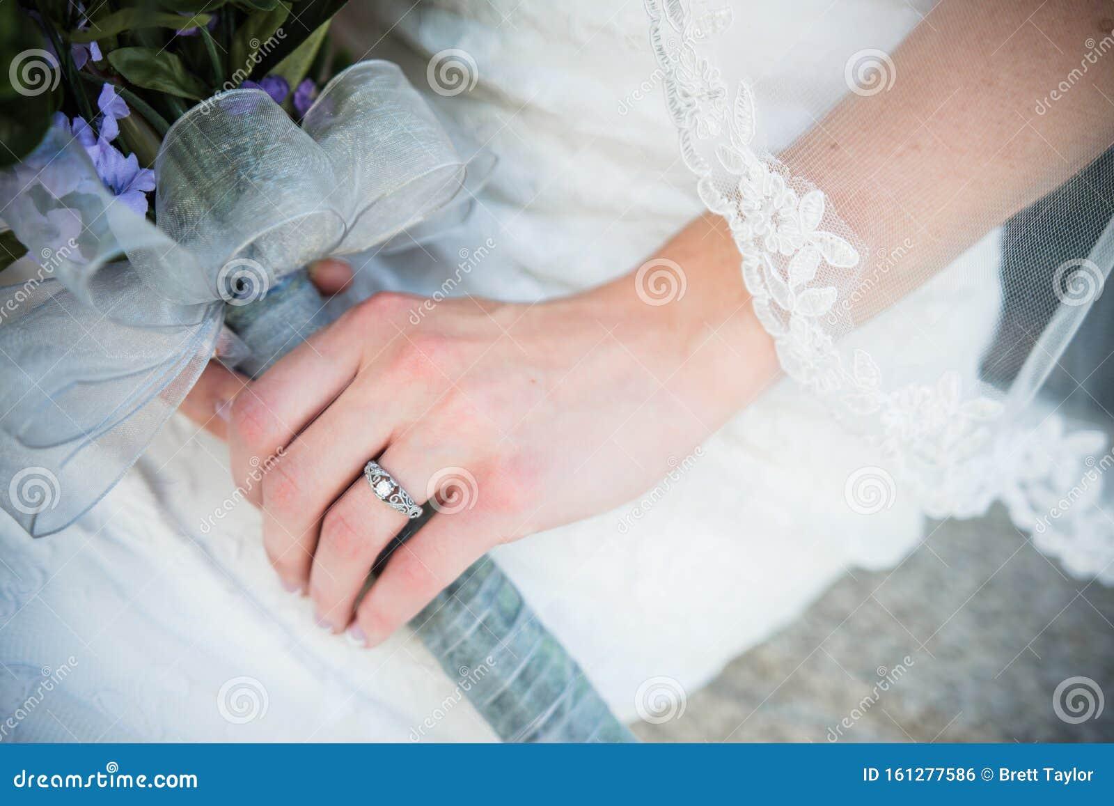 Bride S Wedding Ring On Wedding Day Stock Photo Image Of Lace
