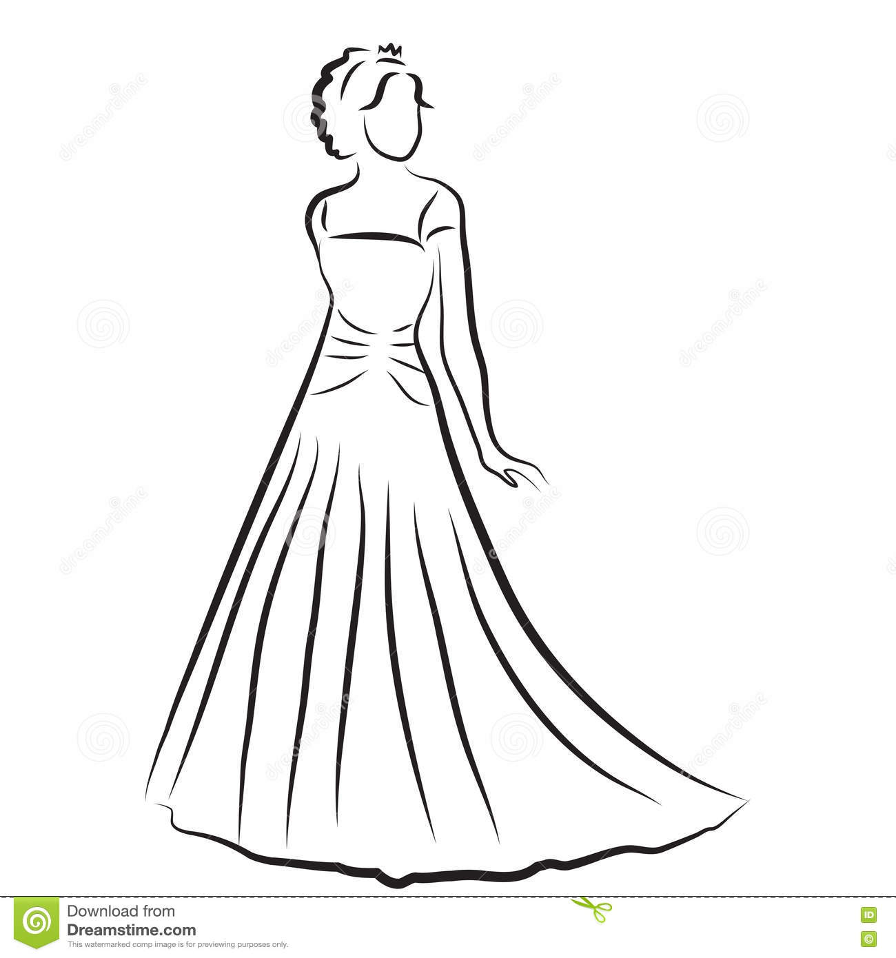 Silhouette Of A Bride In A Wedding Dress,vector Cartoon