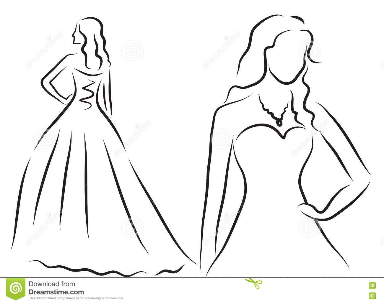 Wedding invitations with silhouettes clothing