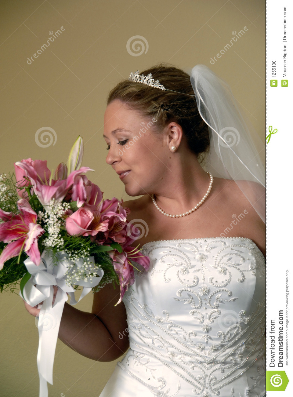 Bride Smelling Bouquet Stock Photo Image 1255100