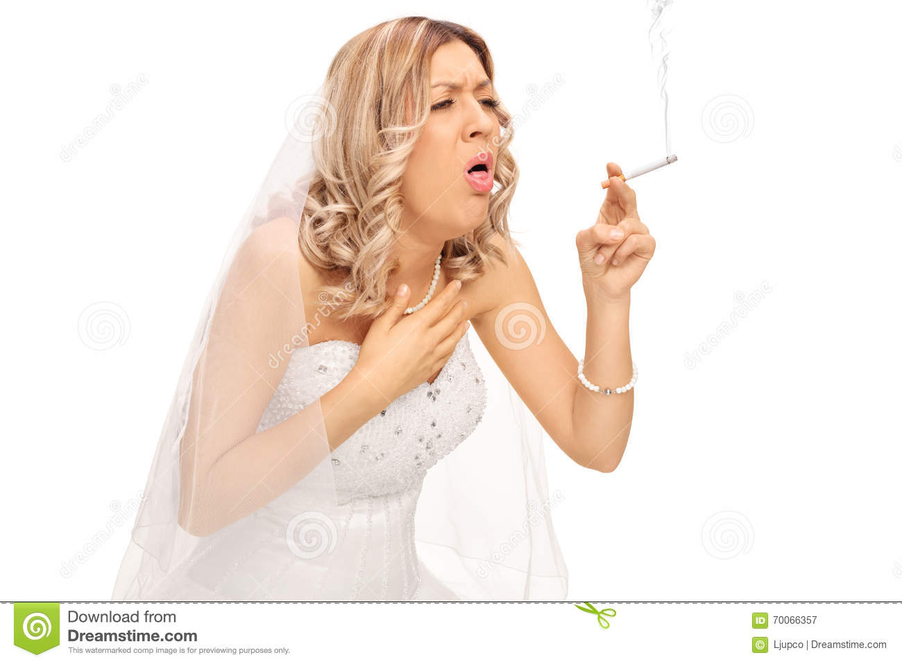 Bride Smoking A Cigarette And Coughing Stock Image - Image ...