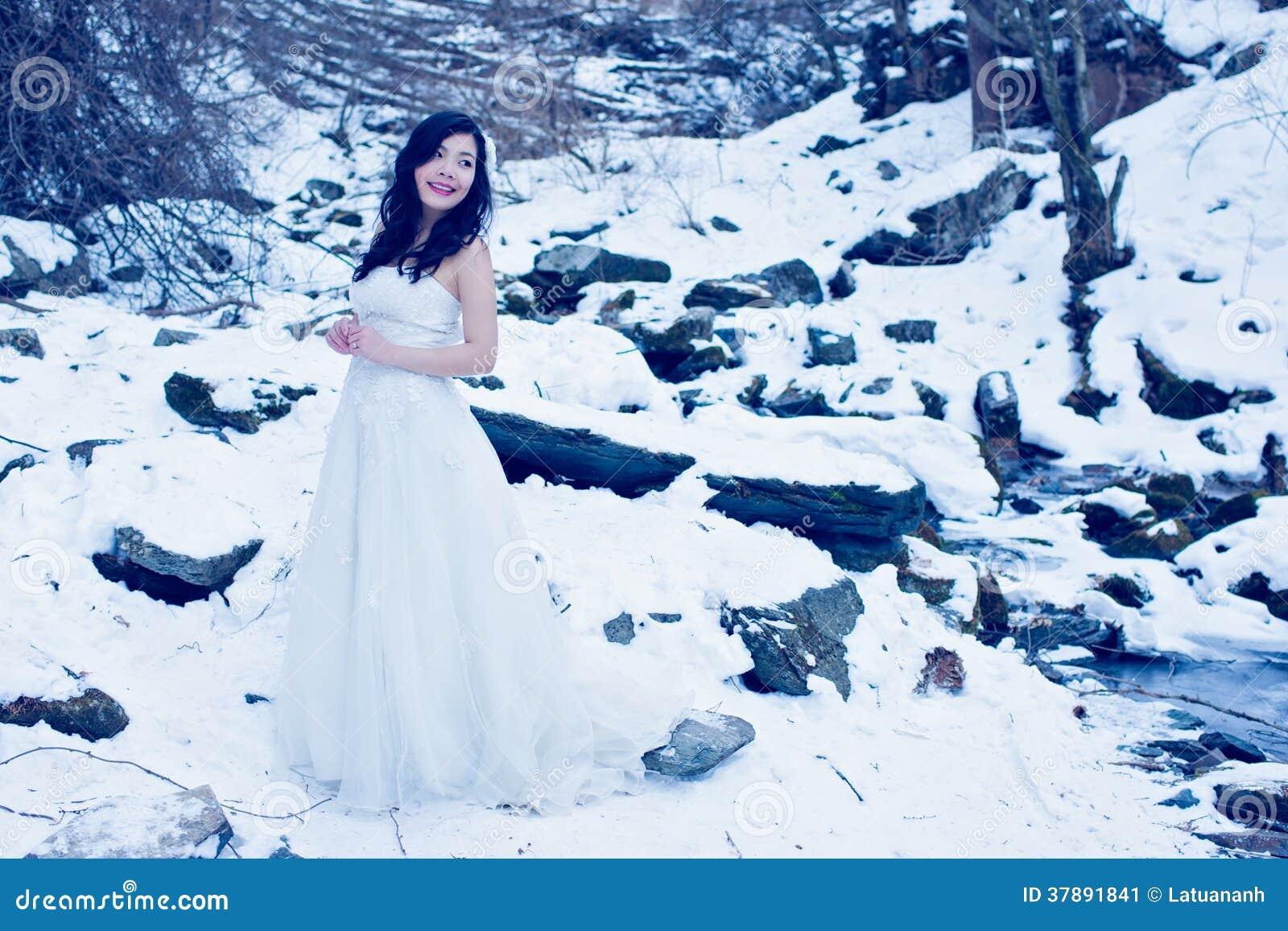 Bride on the snow