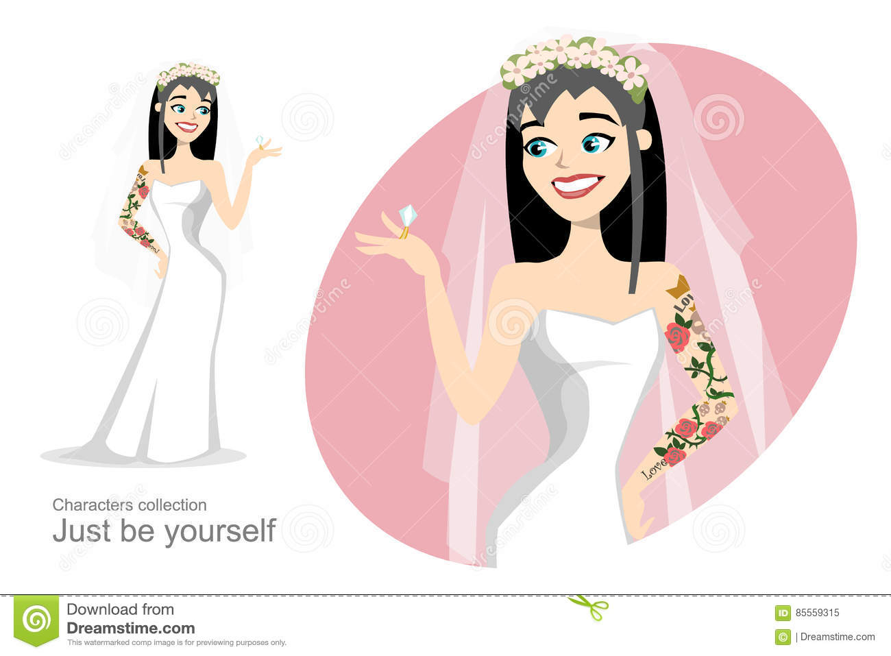 Bride With Tattoo Looking At Wedding Ring Stock Vector