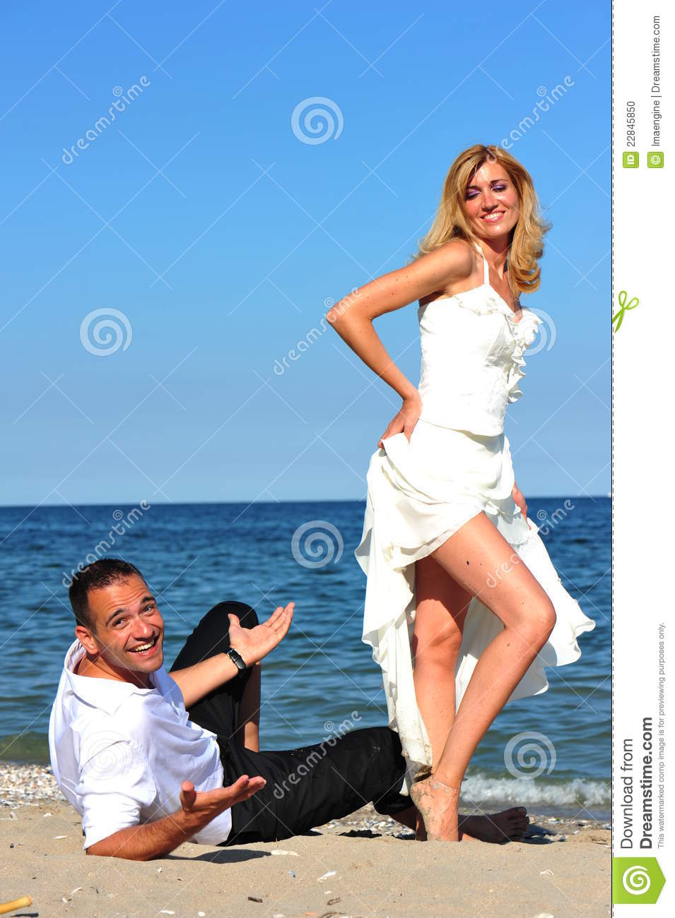Bride tempting her man with sensual body language