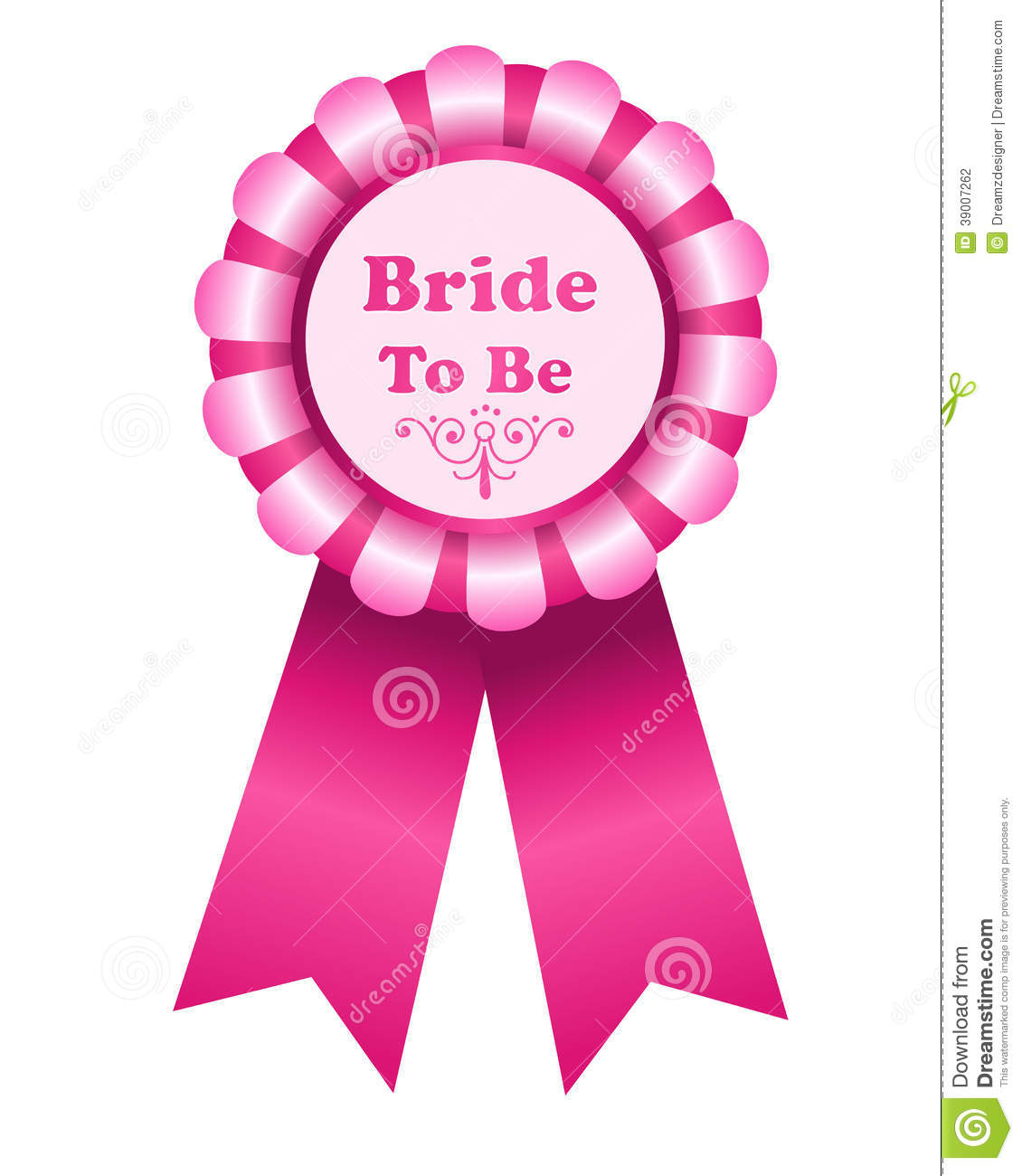 Illustration of a pink bride to be rosette isolated on a white ...