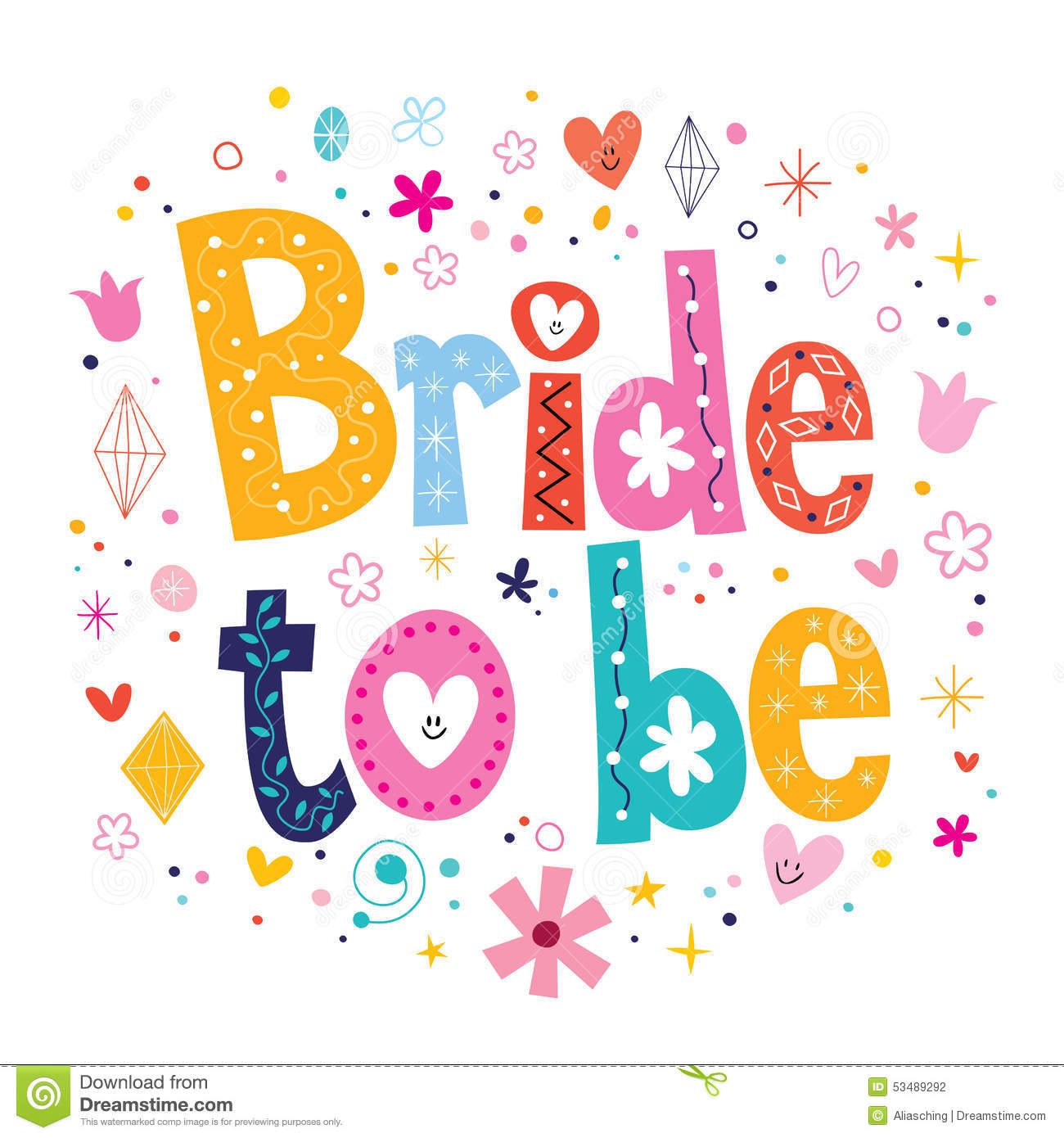 Bride To Be Text Stock Vector - Image: 53489292