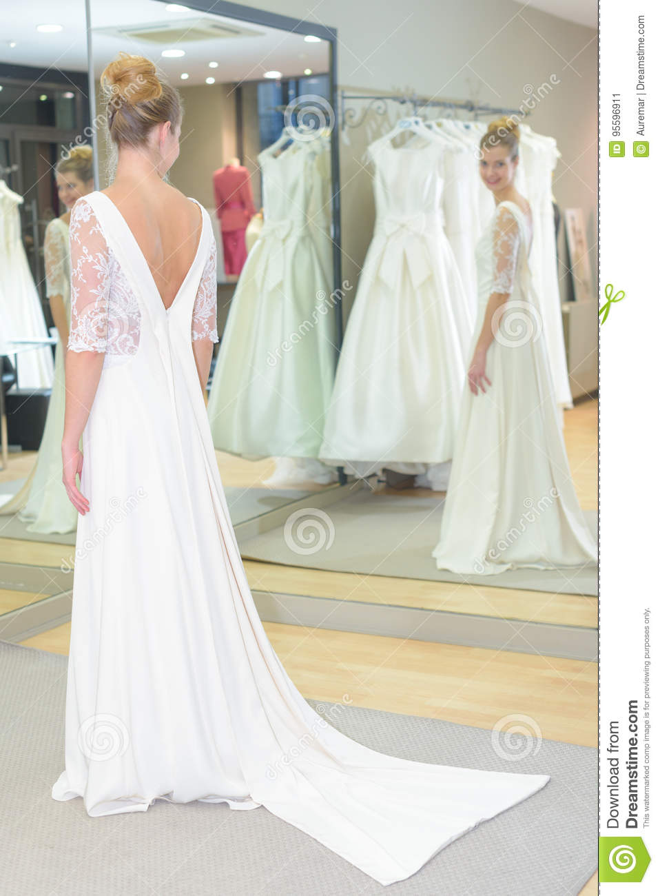 Bride To Be Trying On Wedding Dress Stock Image Image Of