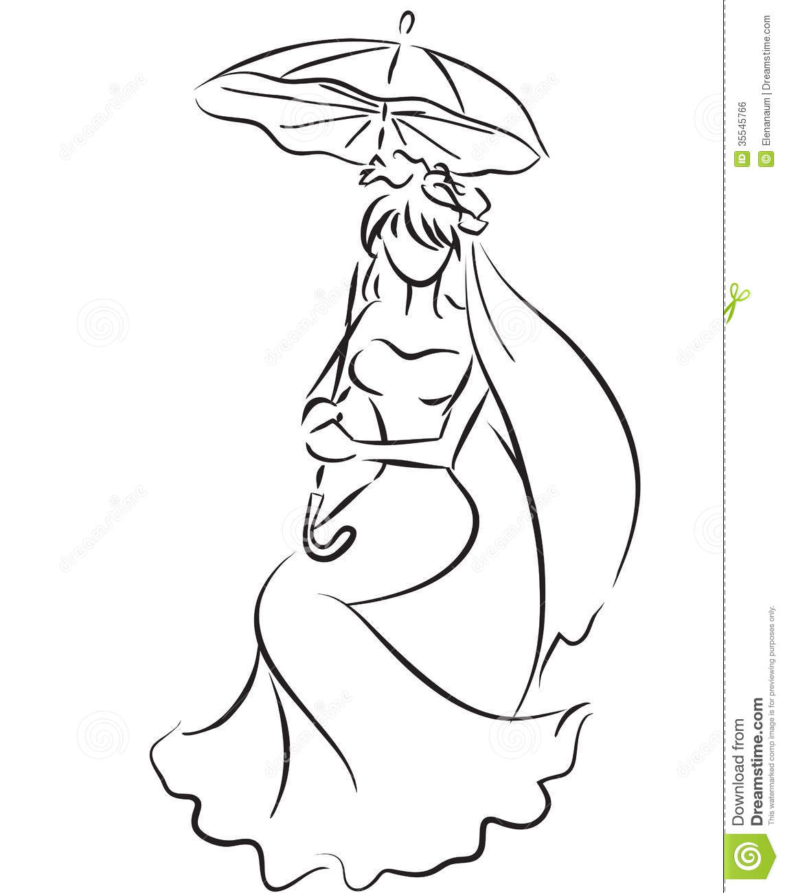 Sitting young girl with umbrella wedding theme bride monochrome