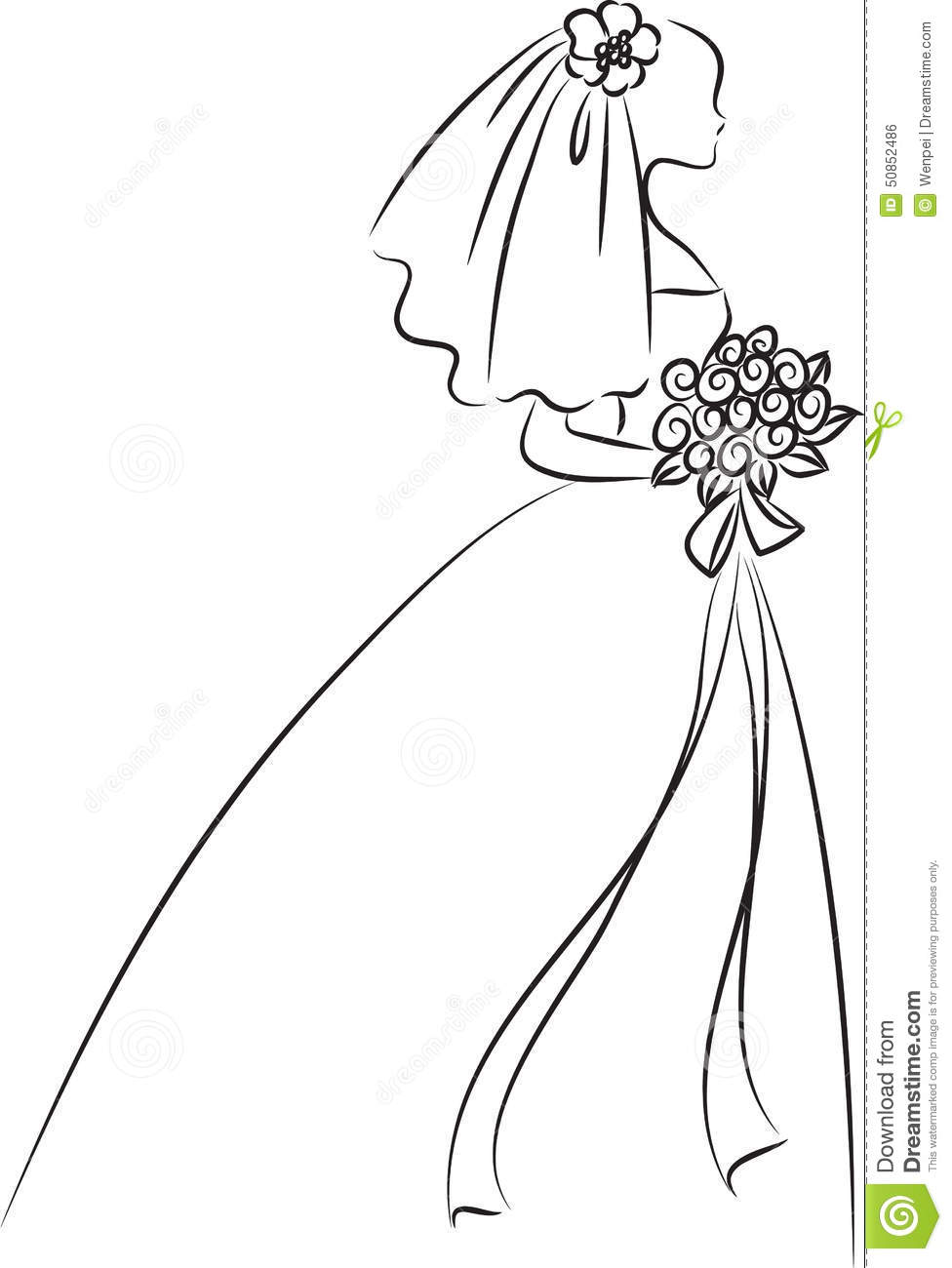 Vector Drawing Lines Review : Bride stock illustration image