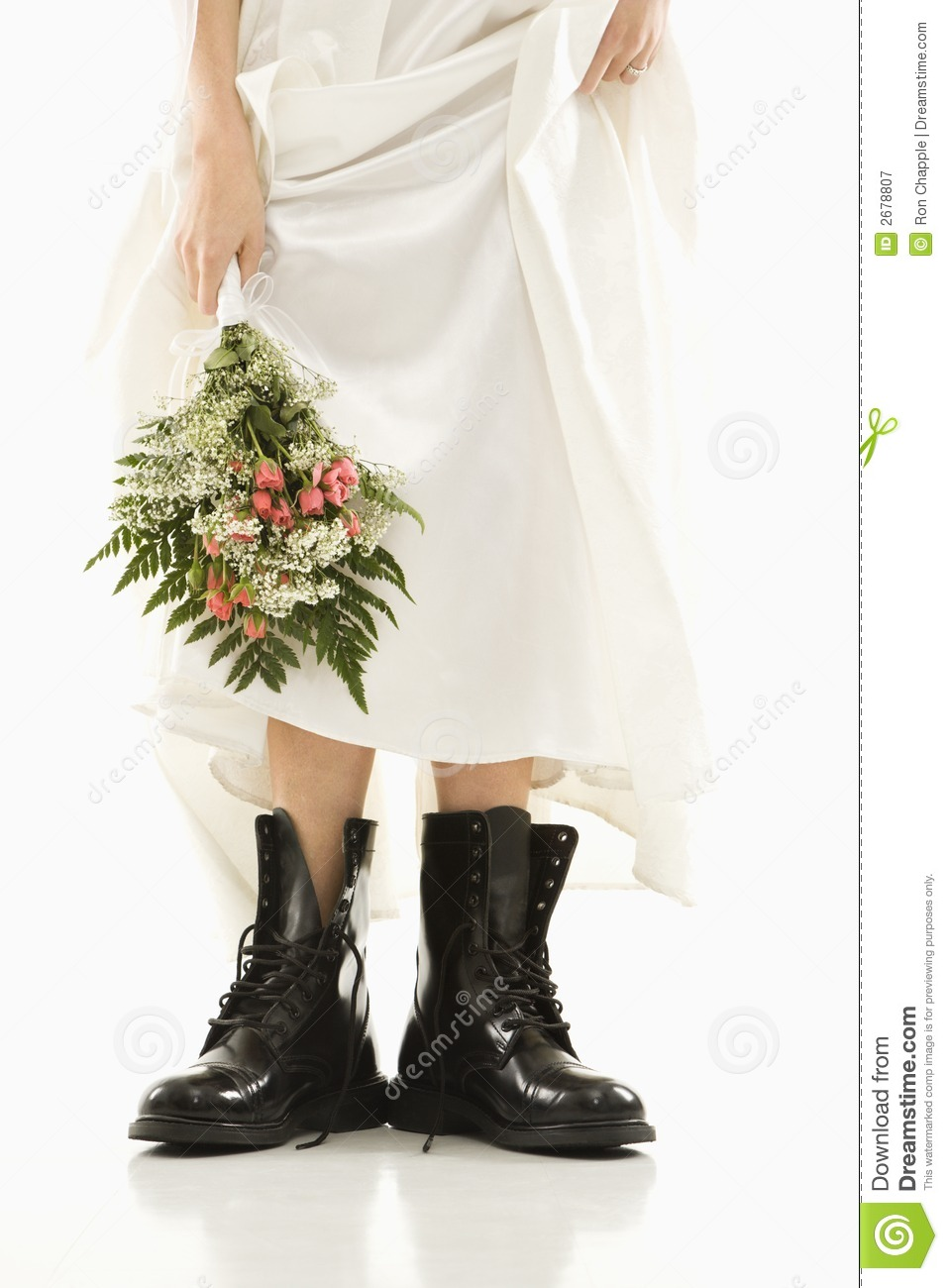 Bride Wearing Combat Boots Royalty Free Stock Photography