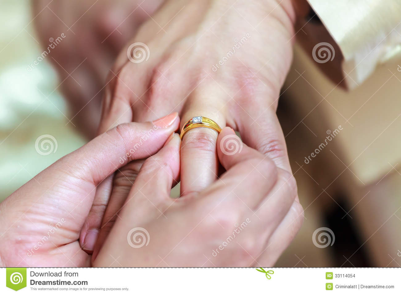 Bride Wearing Ring On Groom\'s Finger Stock Photo - Image of newlywed ...
