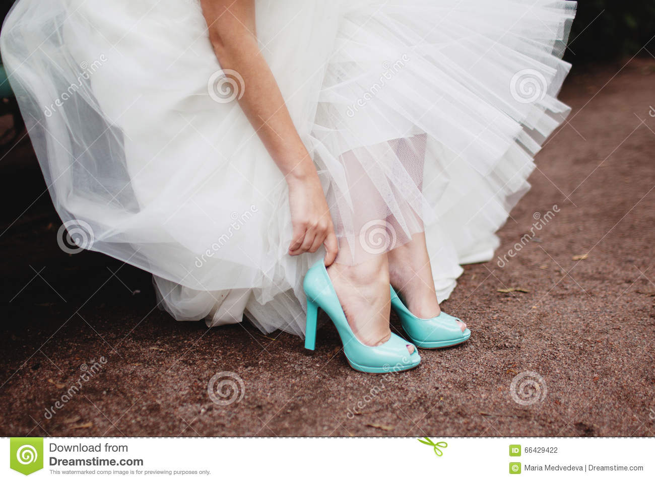 Bride Wearing Wedding Shoes Stock Photo - Image of fashion, love ...