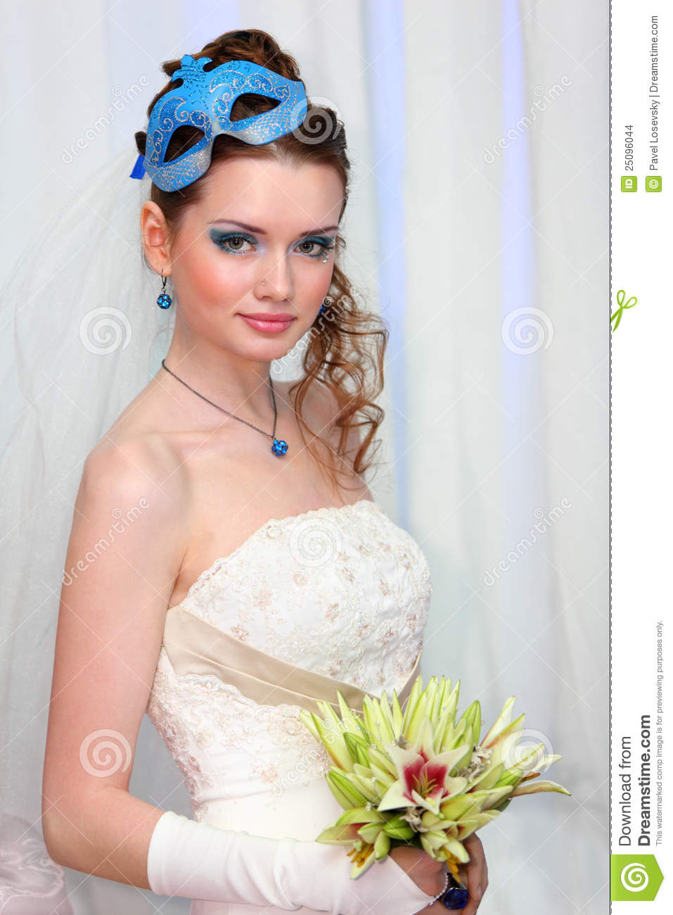 White Dress Bridal Makeup : Bride Wearing In White Dress With Blue Makeup Stock Images ...