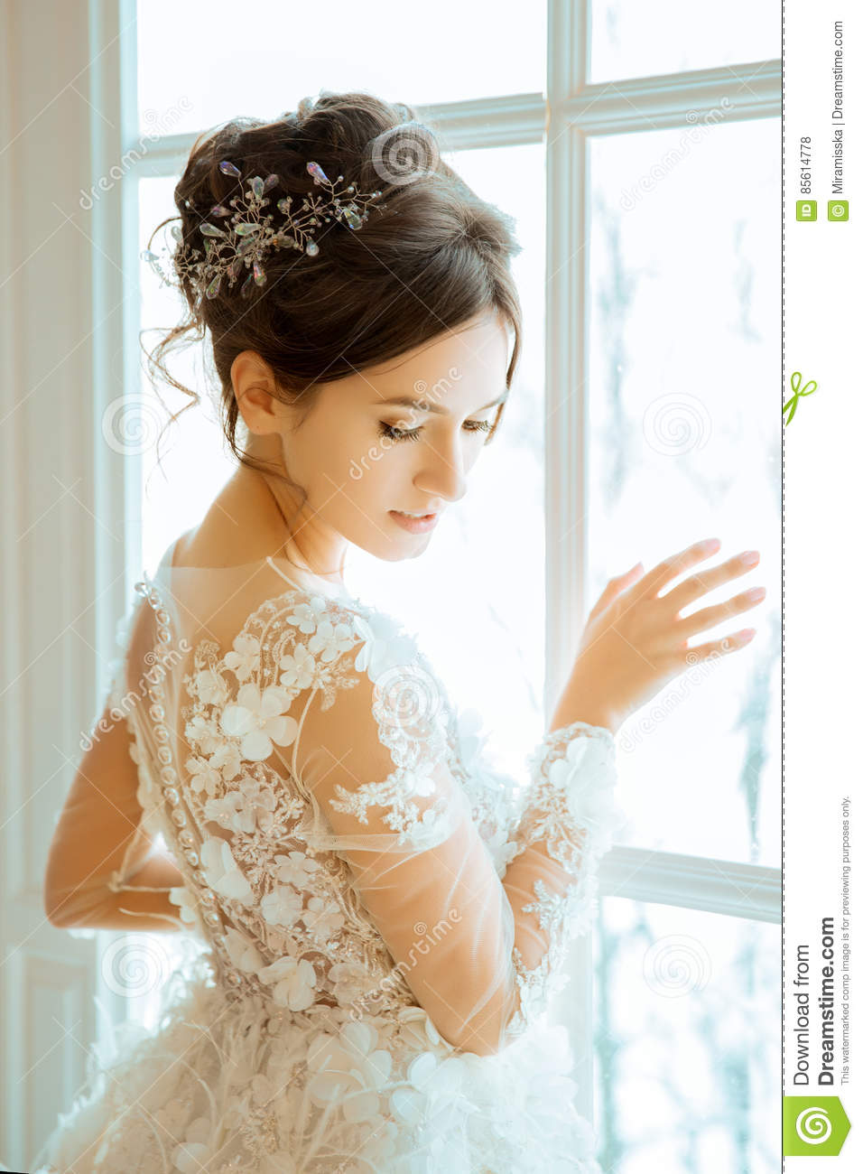 Bride. Wedding. The Bride In A Short Dress With Lace In The Crow