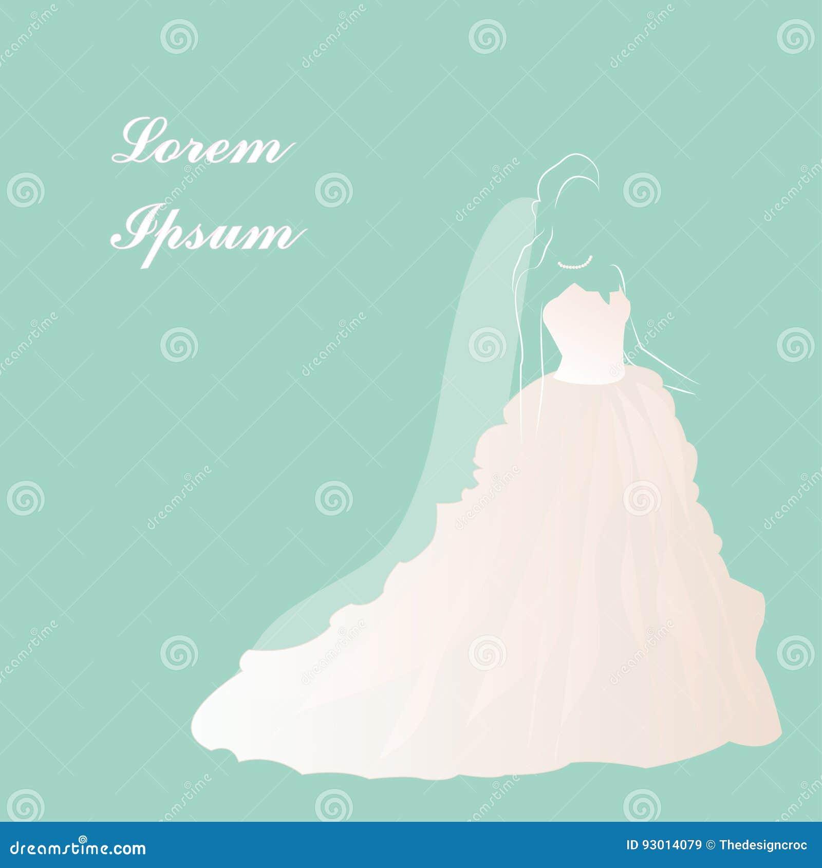 Bride Wedding Dress, Bridal Shower, Beautiful White Dress, Vector ...