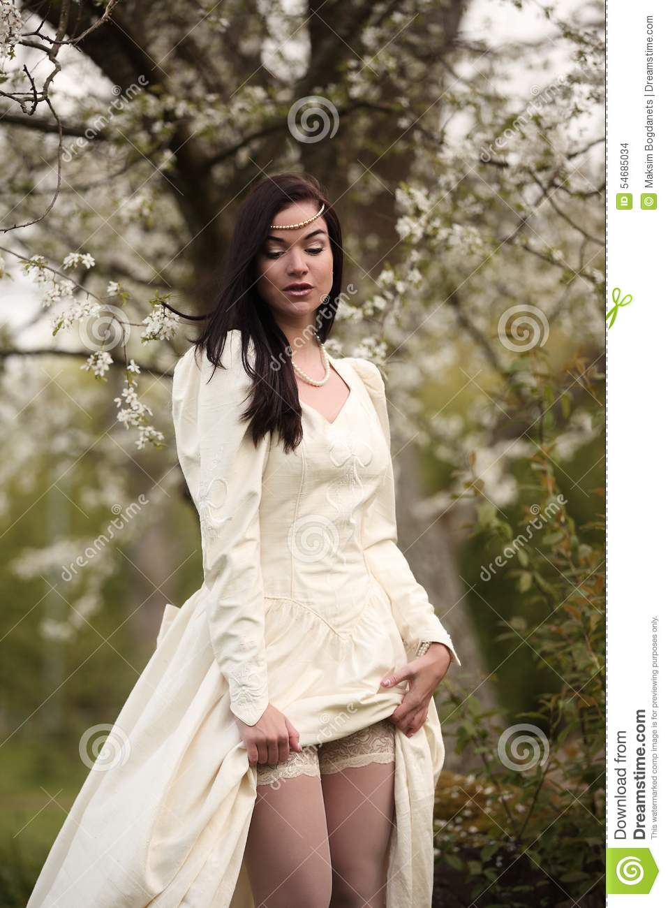 Bride Wedding Dress In Forest Vintage White Tree Stock Photo - Image ...