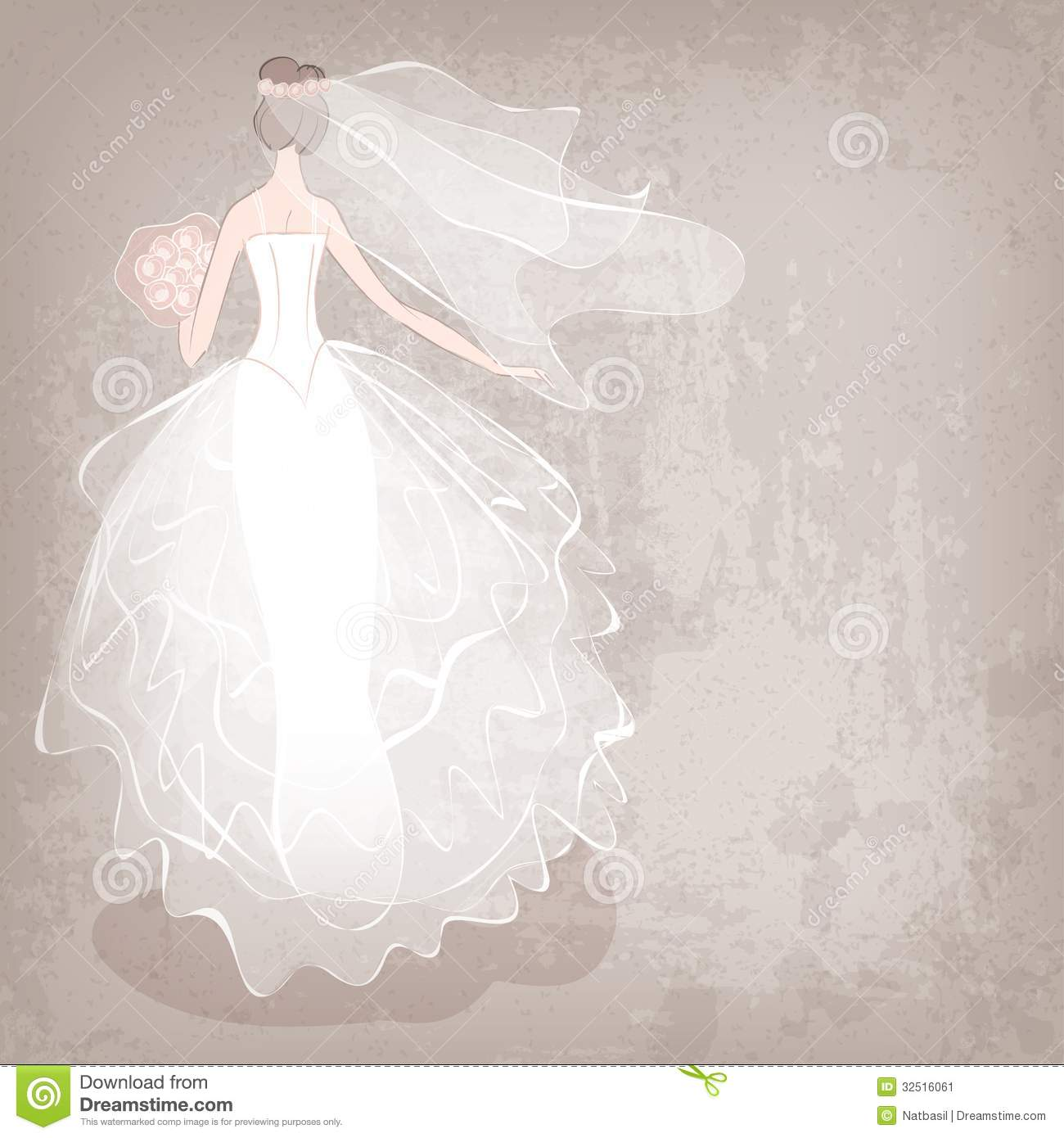 Bride In Wedding Dress On Grungy Background Stock Vector