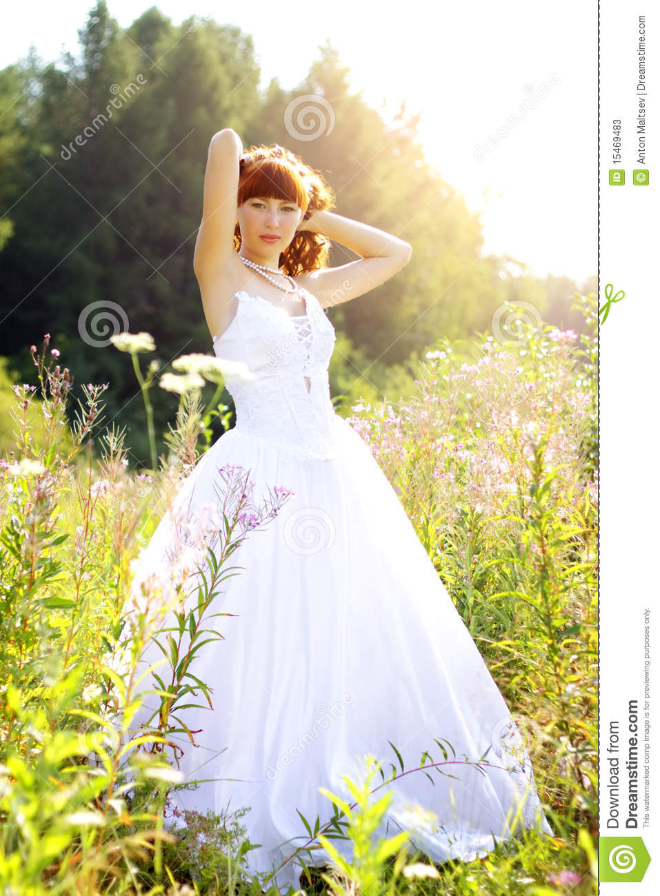 Bride In A Wedding Dress On The Nature Stock Image