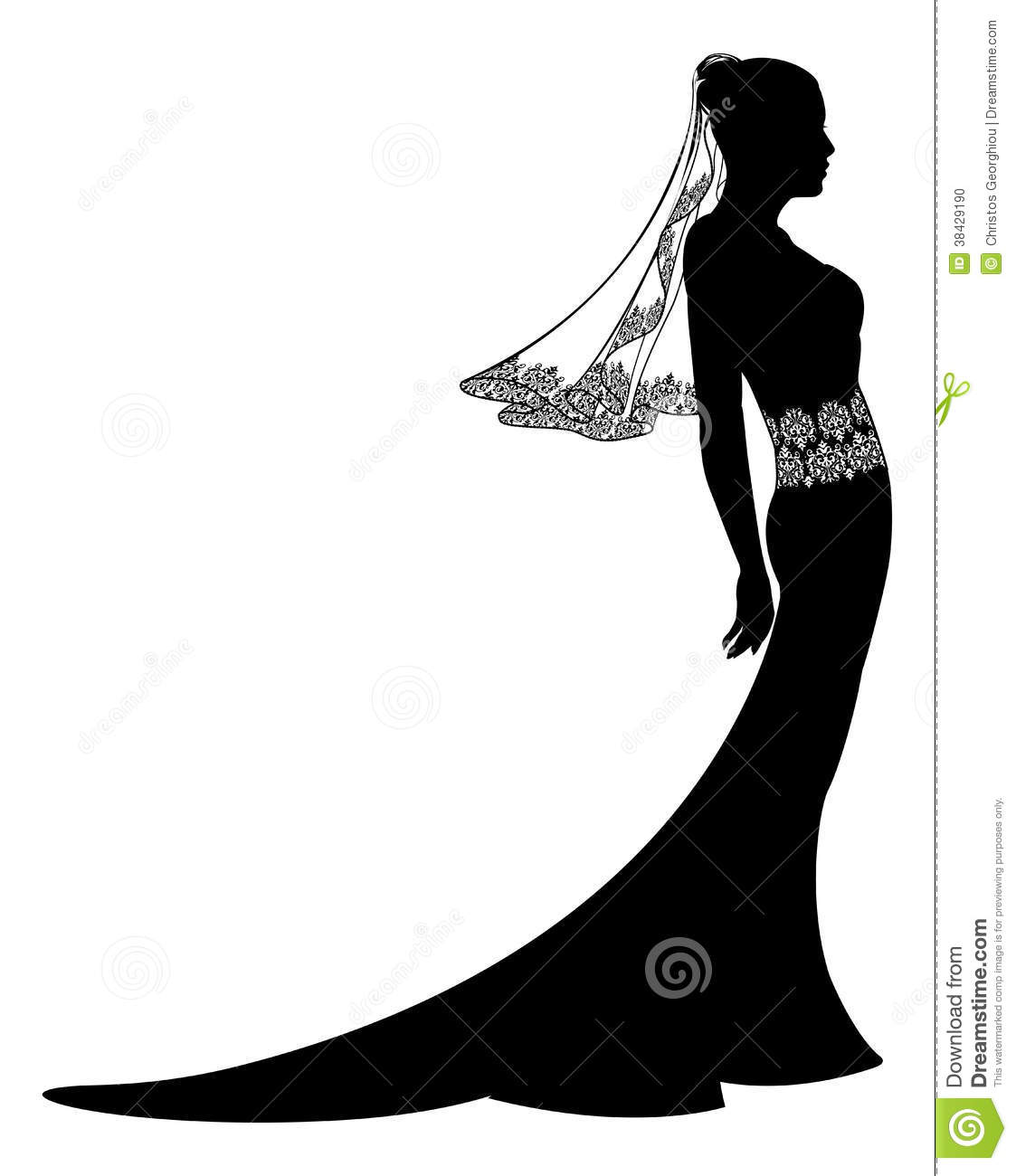 Bride In Wedding Dress Silhouette Stock Vector