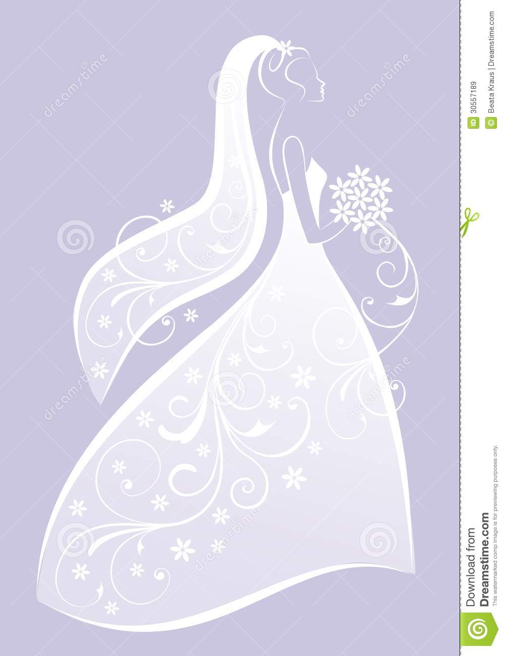 Bride in wedding dress vector royalty free stock images image