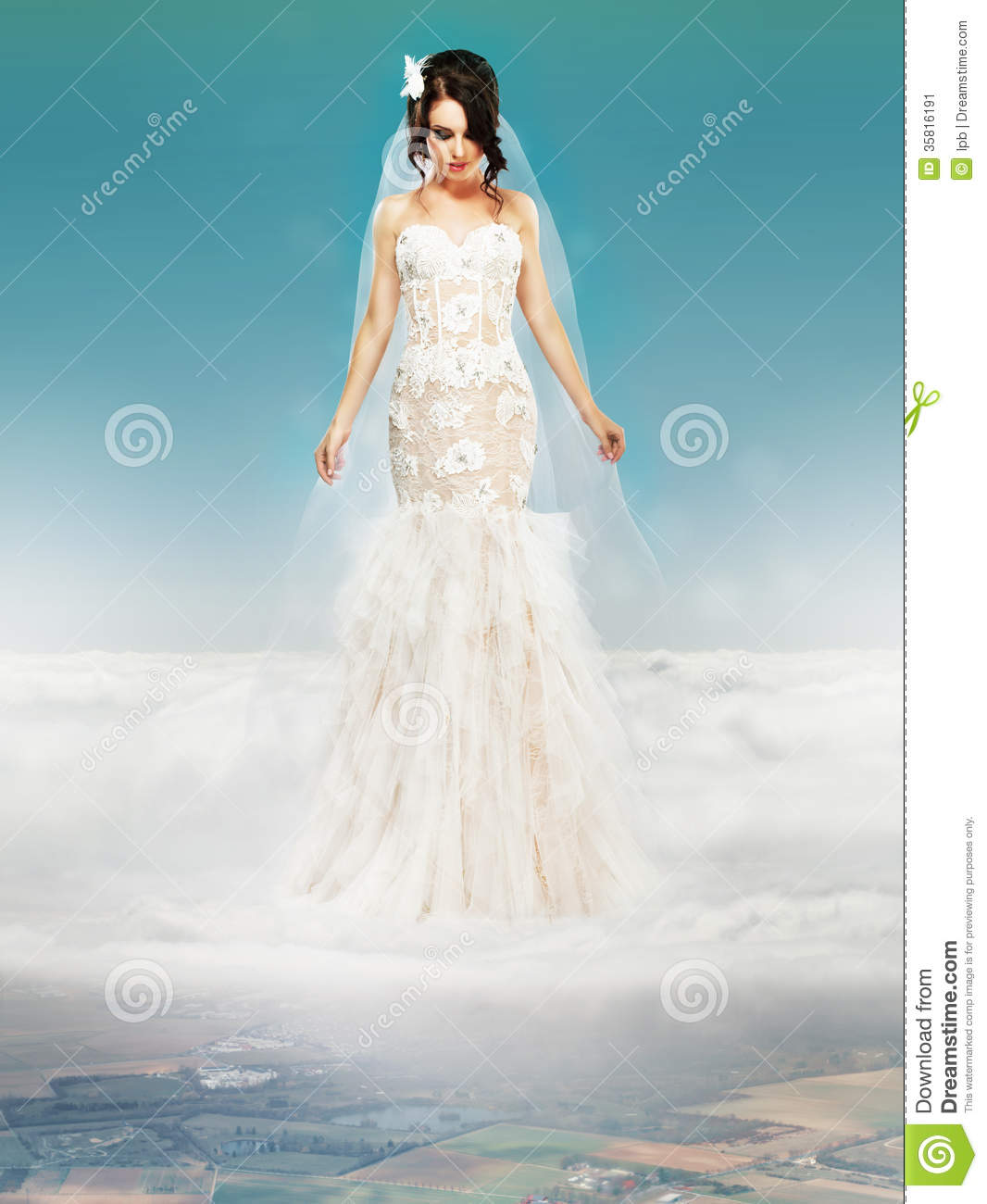 Bride In Wedding White Dress Standing On A Cloud Stock Image - Image ...