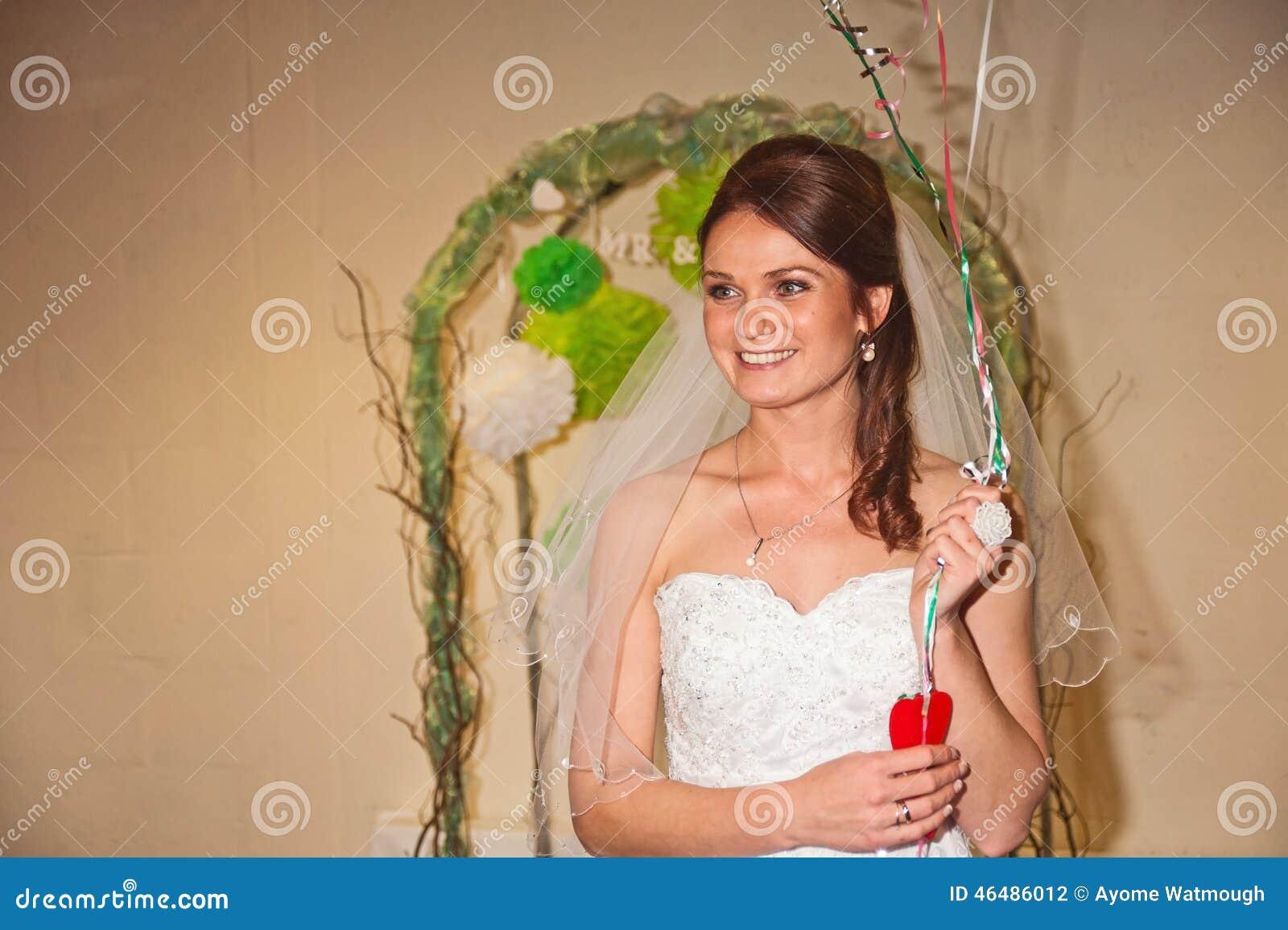 Bride welcomes guests