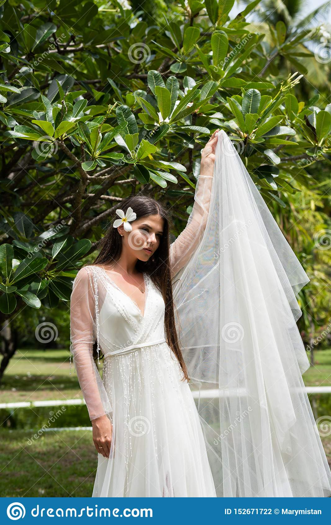 A bride in a white dress with an exotic flower in her hair is standing under a flowering tropical tree