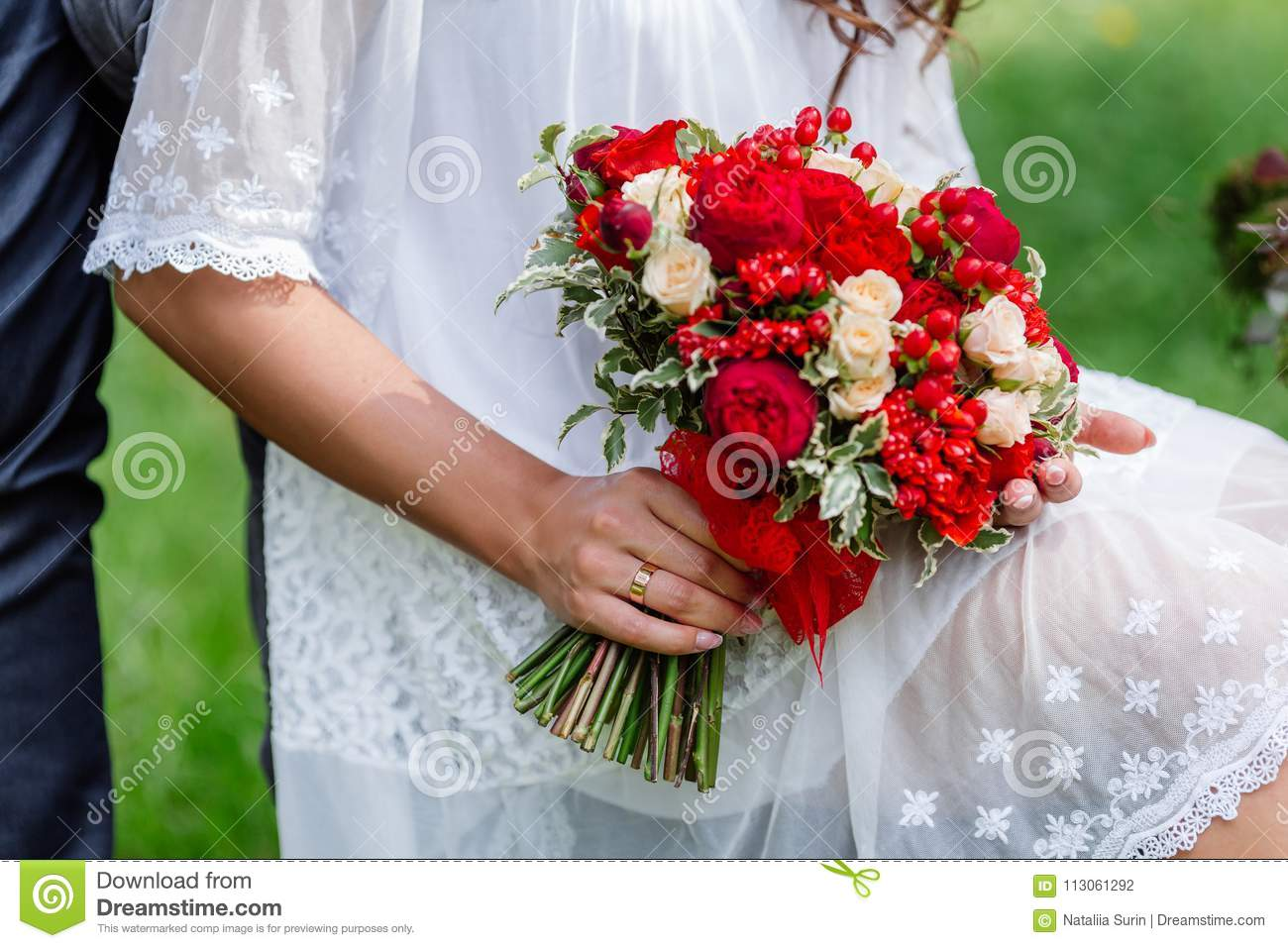 Bride In White Dress Holding In Hands Delicate Expensive Trendy