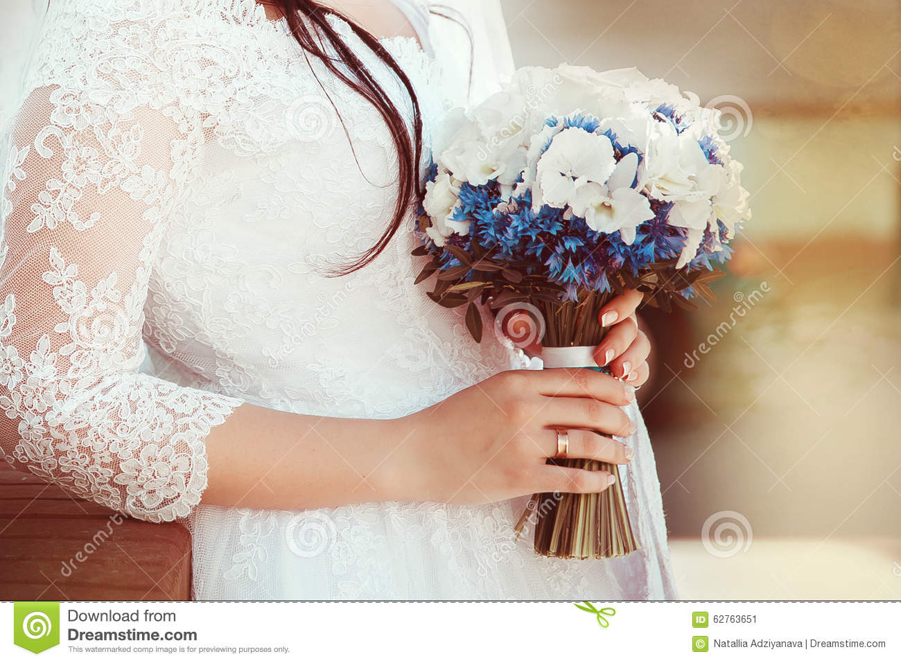 Bride In White Dress Holding Wedding Bouquet Stock Image Image
