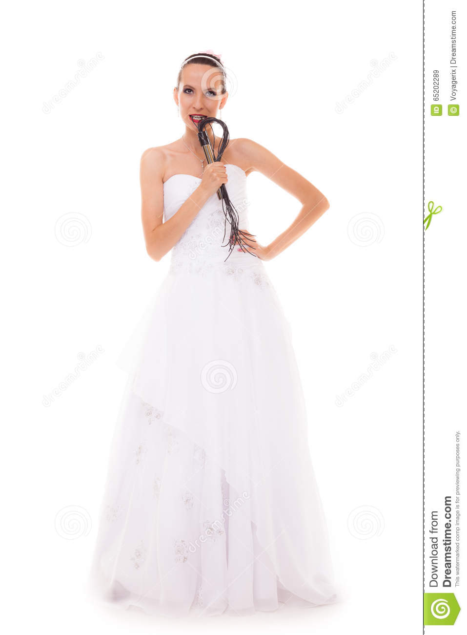Bride white gown holds black leather flogging whip stock for Leather wedding dresses black