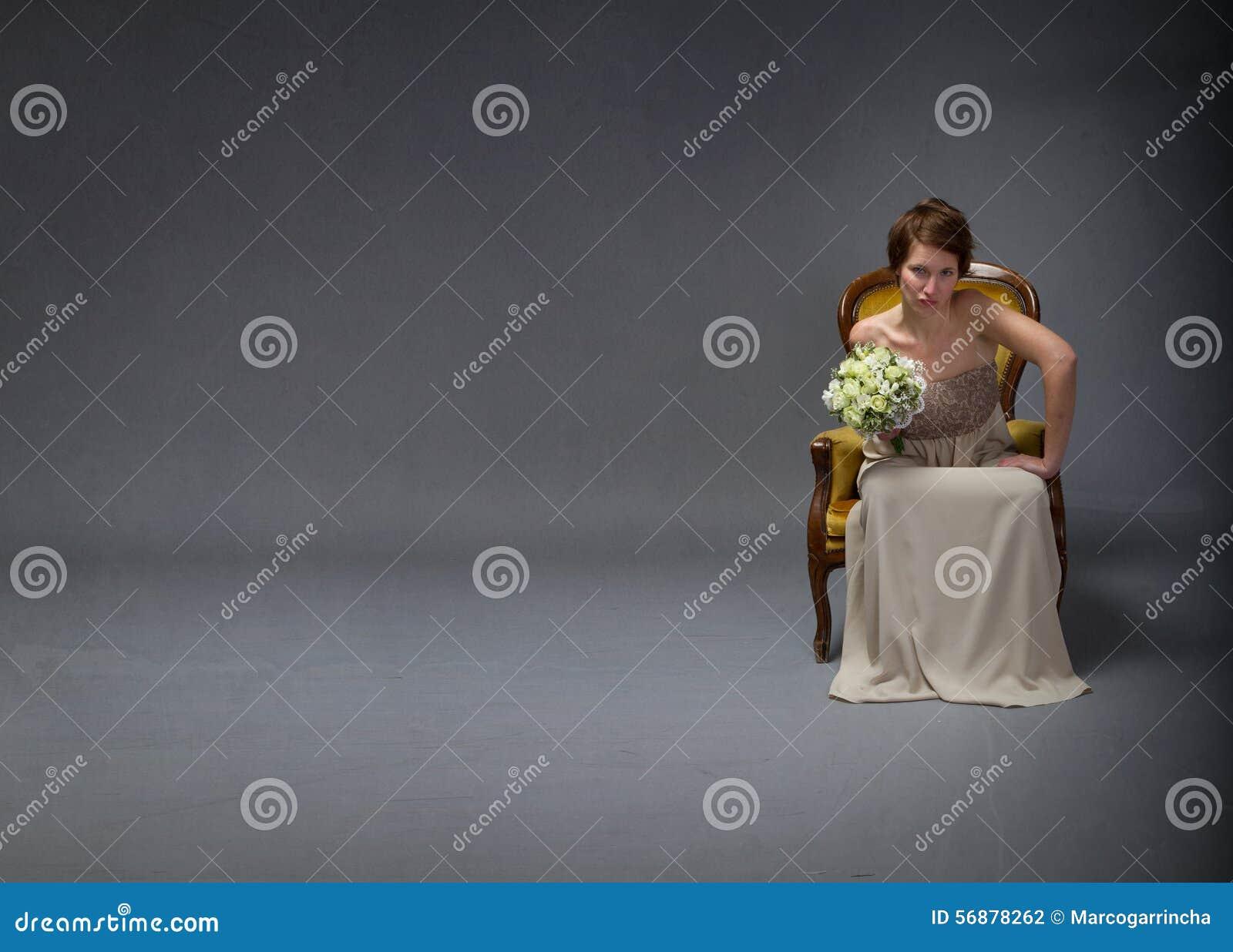 Bride woman unhappy in solitude mode