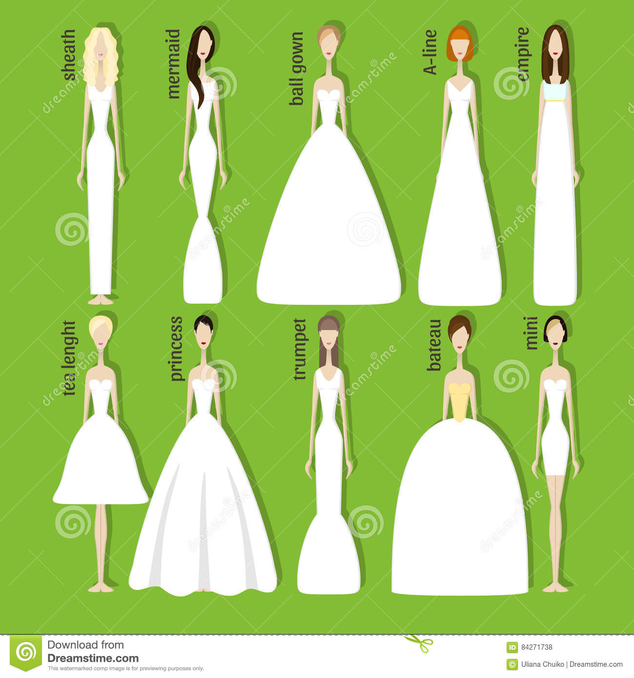Brides In Different Dresses Stock Vector