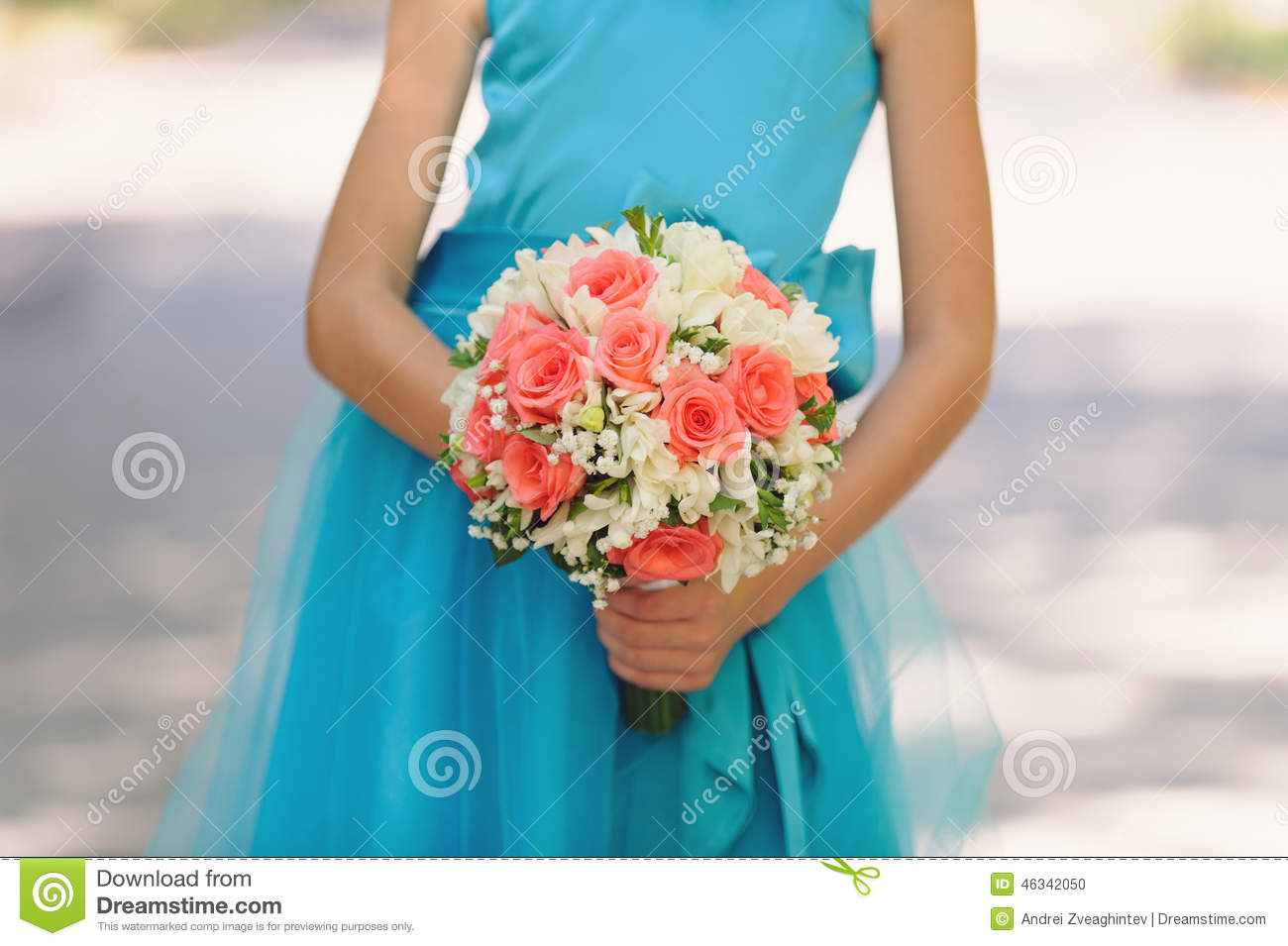Bridesmaid In Blue Dress With Flowers Stock Photo Image Of Color