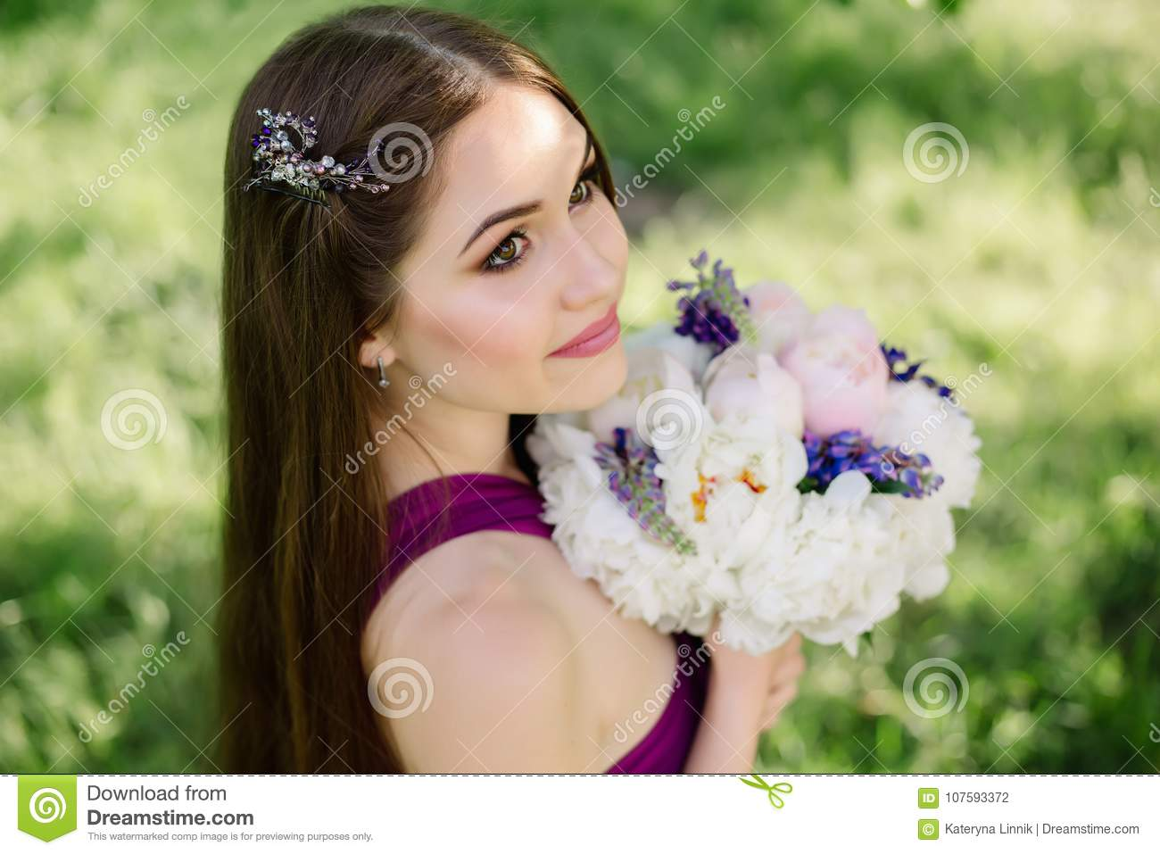 Bridesmaid With Luxurious Colorful Wedding Bouquet Of Peonies And