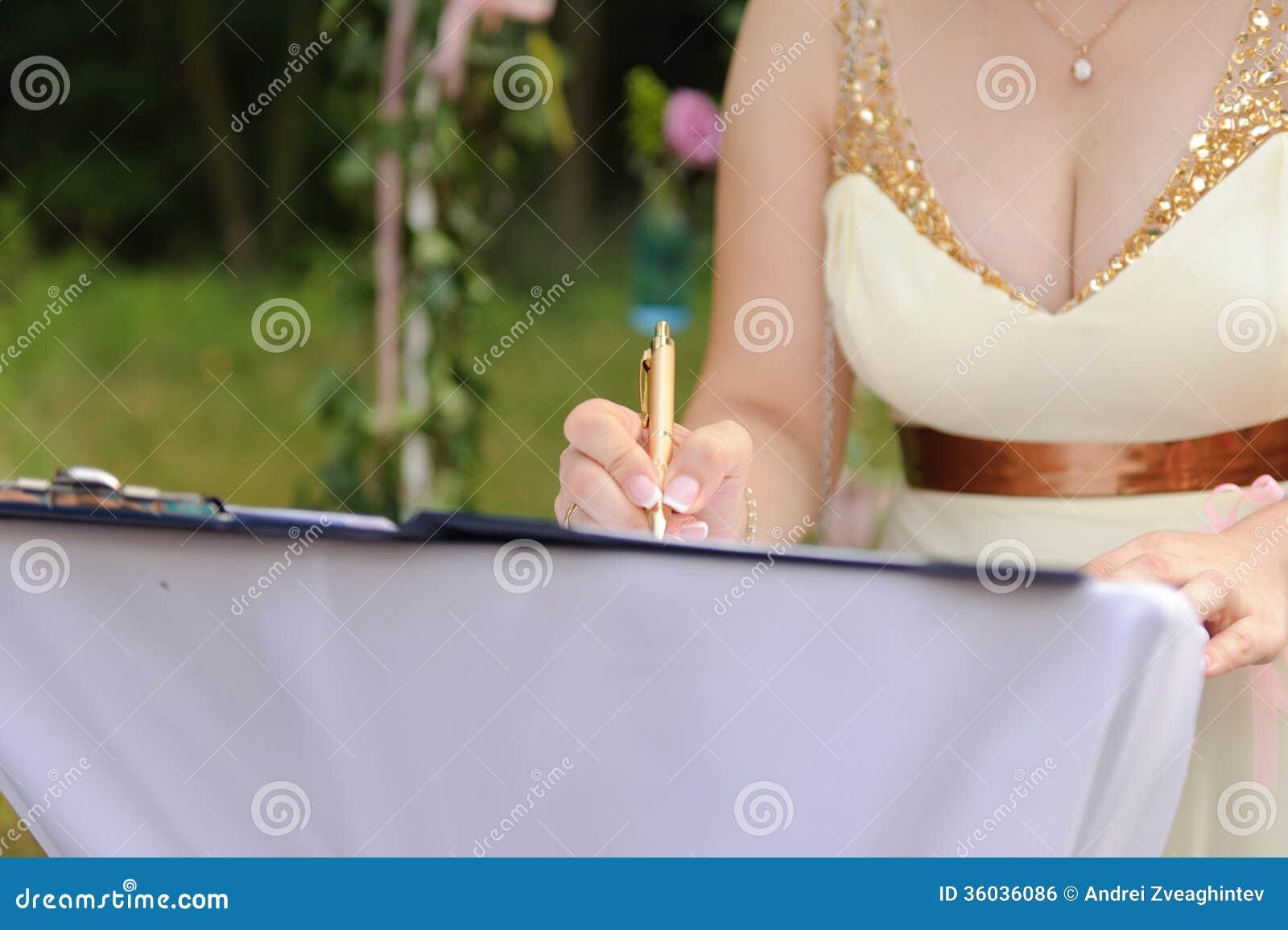 Bridesmaid signing certificate stock photo image 36036086 bridesmaid signing certificate xflitez Choice Image