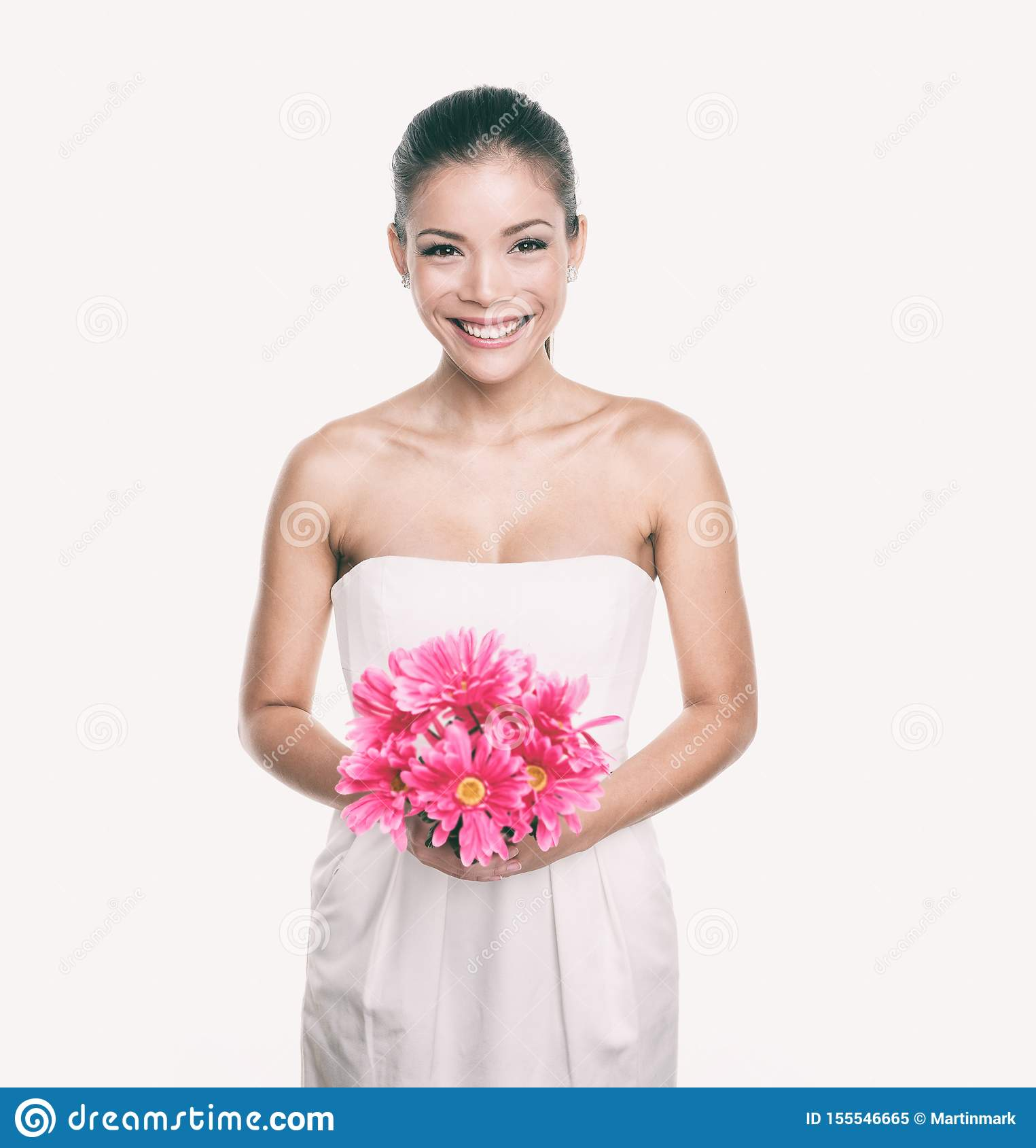 Bridesmaid Wedding Dress Girl With Flower Bouquet Asian Woman