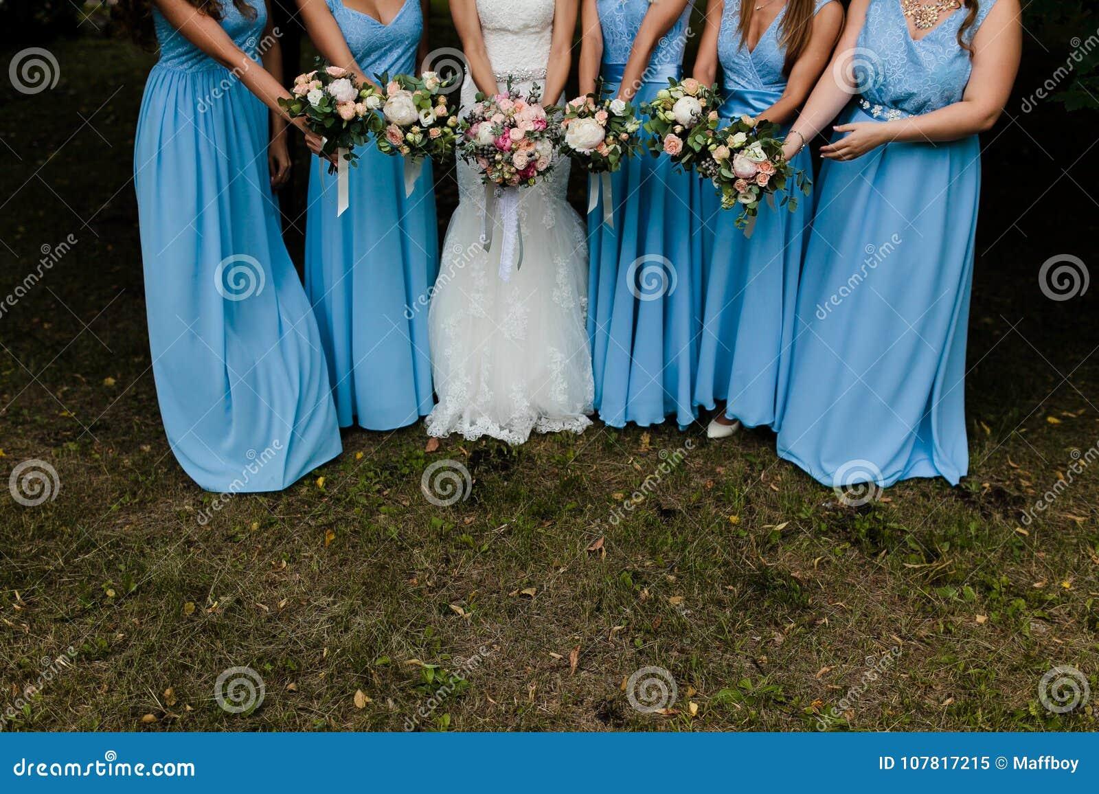 Bridesmaids in blue