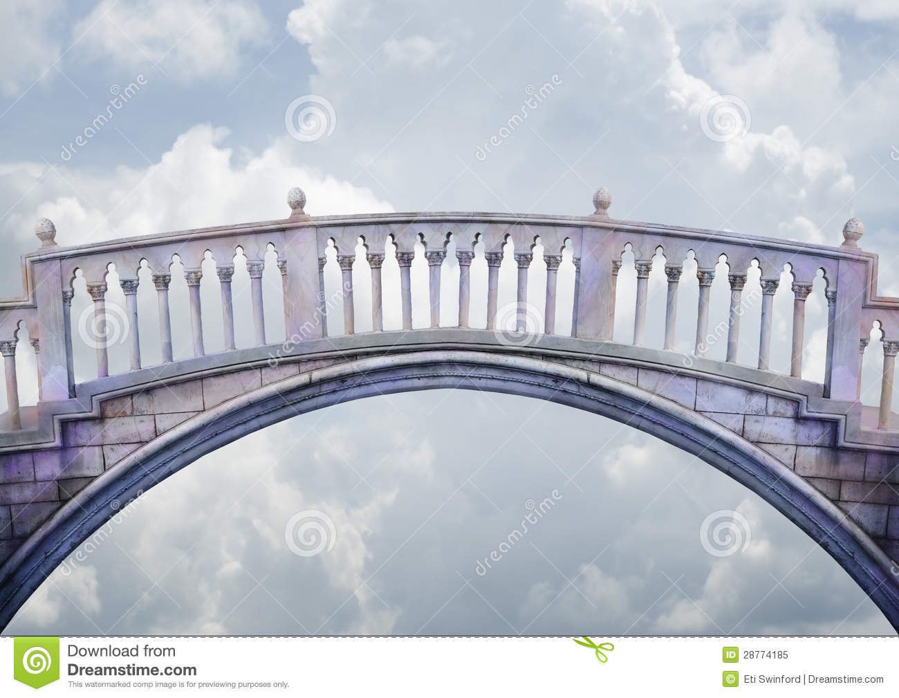 marble columned bridge arches and spans over a light cloudy sky ...