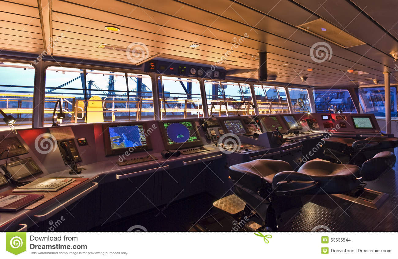 Bridge Aboard Modern Ship. Stock Photo - Image: 53635544
