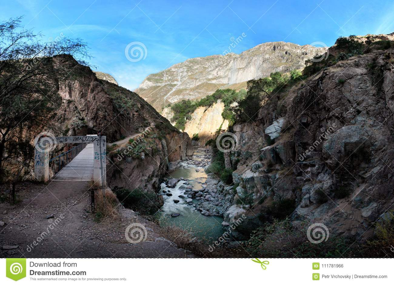 The bridge across the river in the Colca Canyon, southern Peru