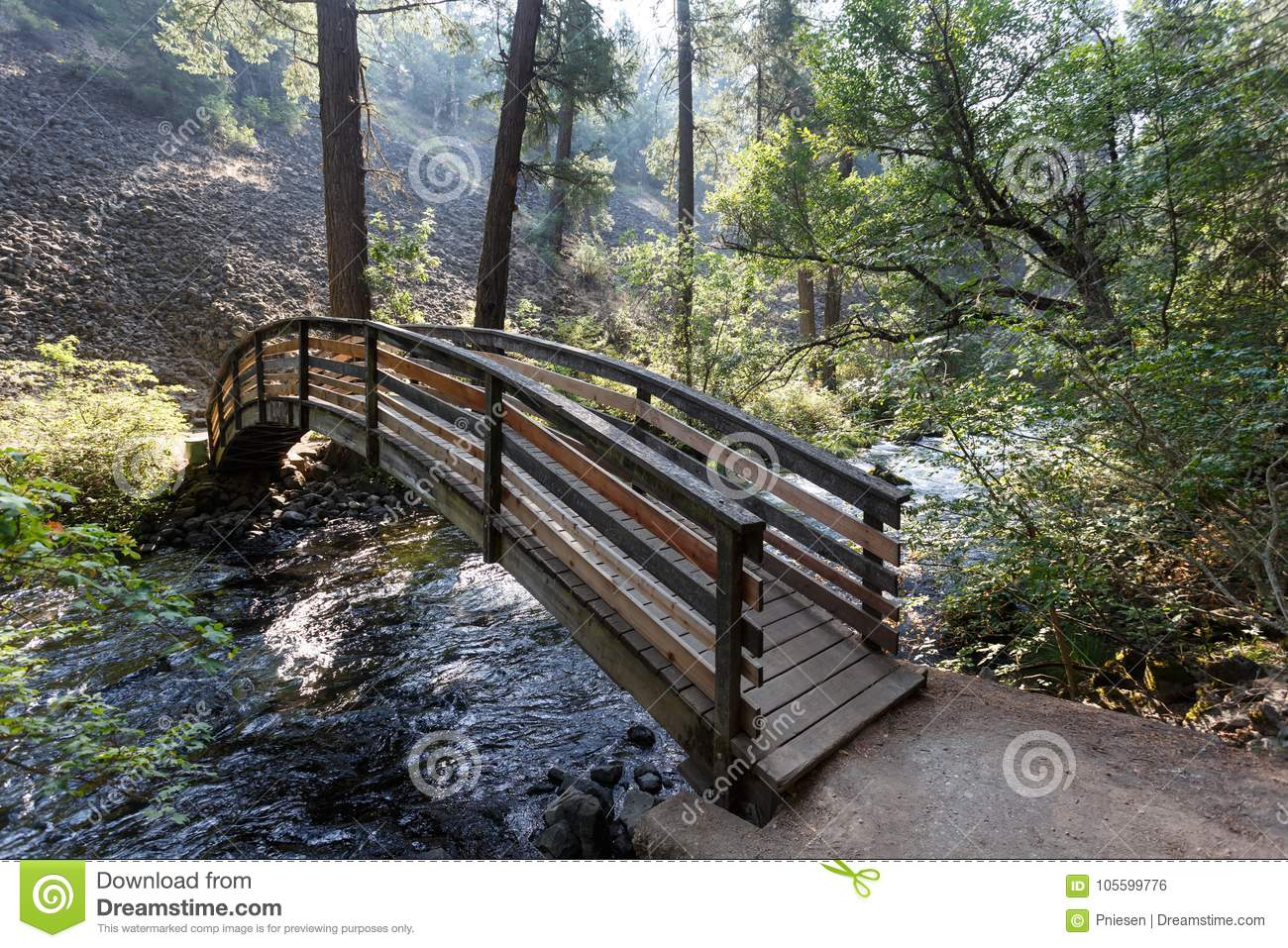 Bridge across water that flows into McArthur-Burney Falls in Lassen Volcanic National Park`s alpine forest