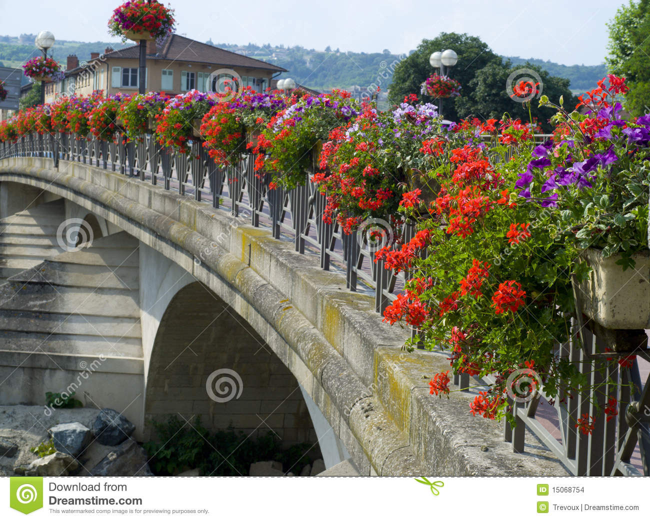 Bridge In Anse France Decorated With Flowers Stock Photo